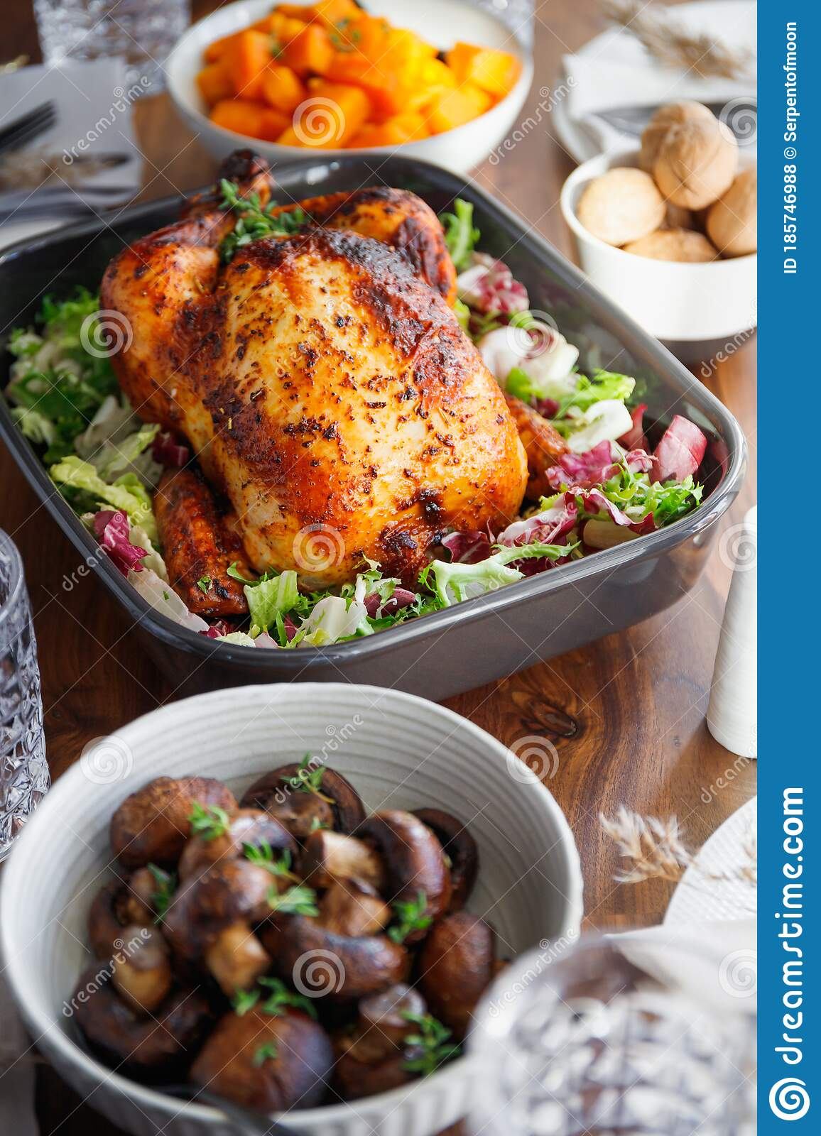 Festive Table With Whole Roasted Chicken Stock Photo ...