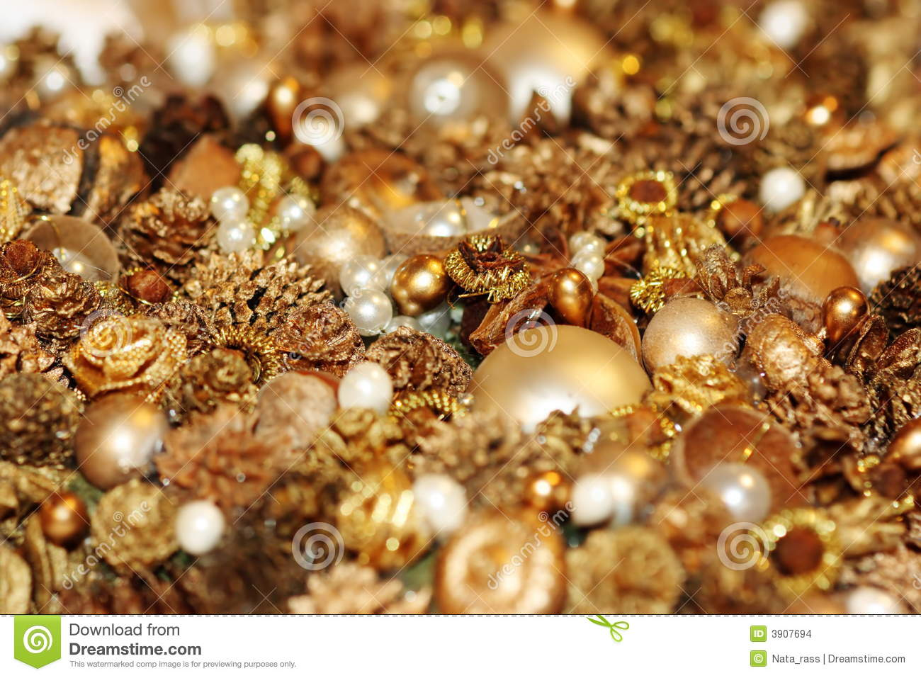 Shining treasures for decoration of Christmas-tree. Shallow DOF.
