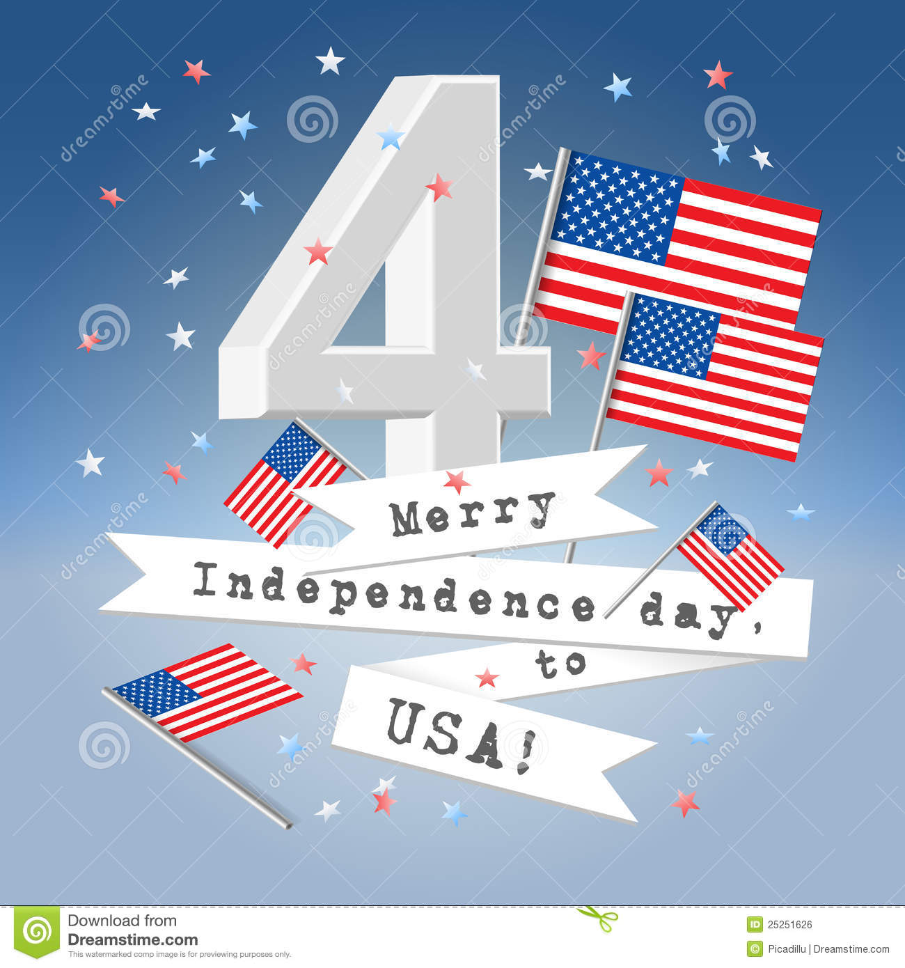 Festive usa independence day greeting card stock vector