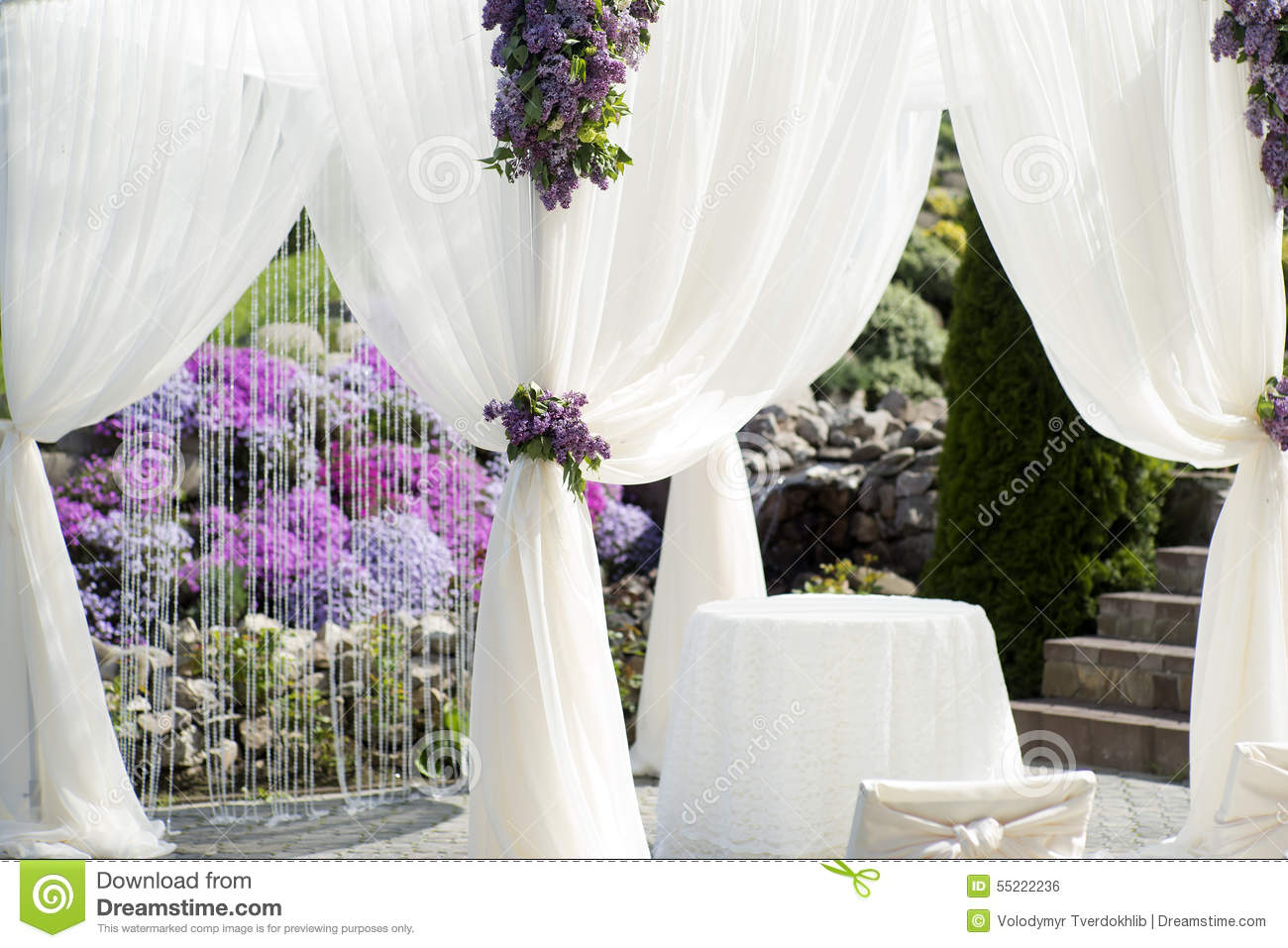 Festive Wedding Decoration Of White Fabric Closeup Stock Photo ...