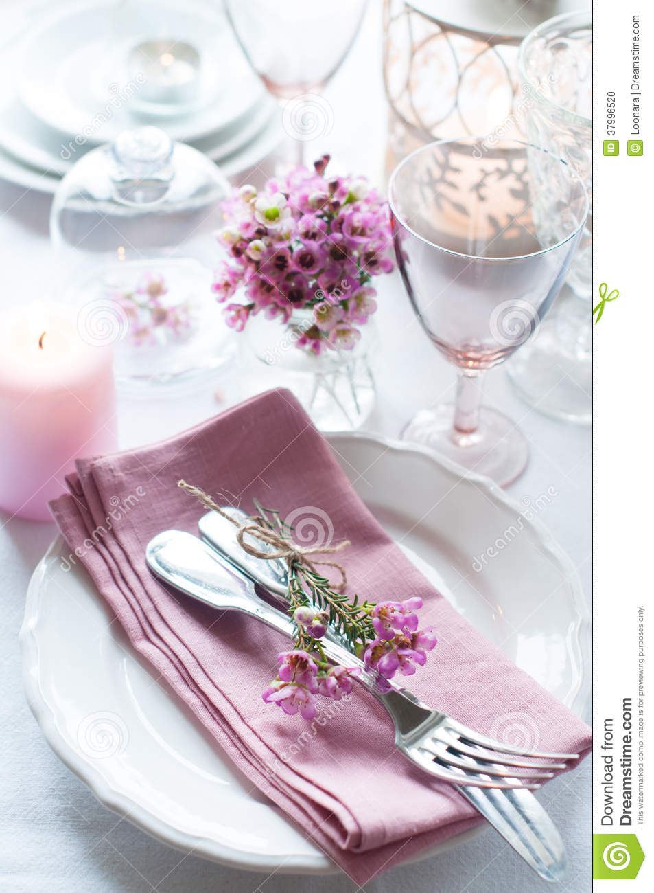 Festive Wedding Table Setting Stock Photo Image 37996520 : festive wedding table setting pink flowers napkins vintage cutlery glasses candles bright summer decor 37996520 from www.dreamstime.com size 953 x 1300 jpeg 135kB