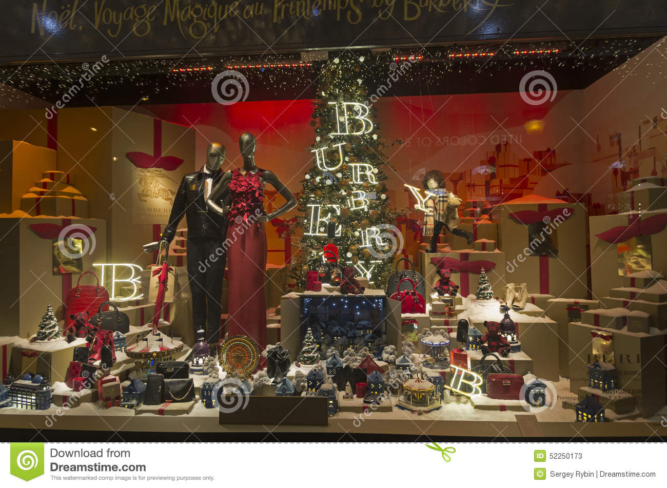 festive window dressing in department store for christmas. Black Bedroom Furniture Sets. Home Design Ideas
