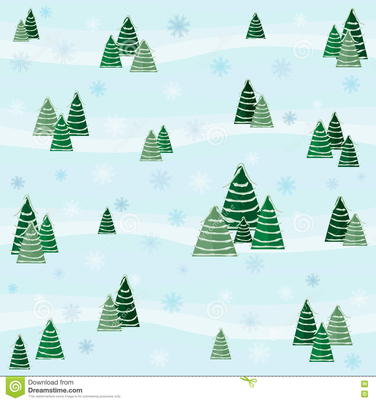 Festive winter pattern with snow-covered trees and snowflakes Design for greeting cards, Christmas / New Year background