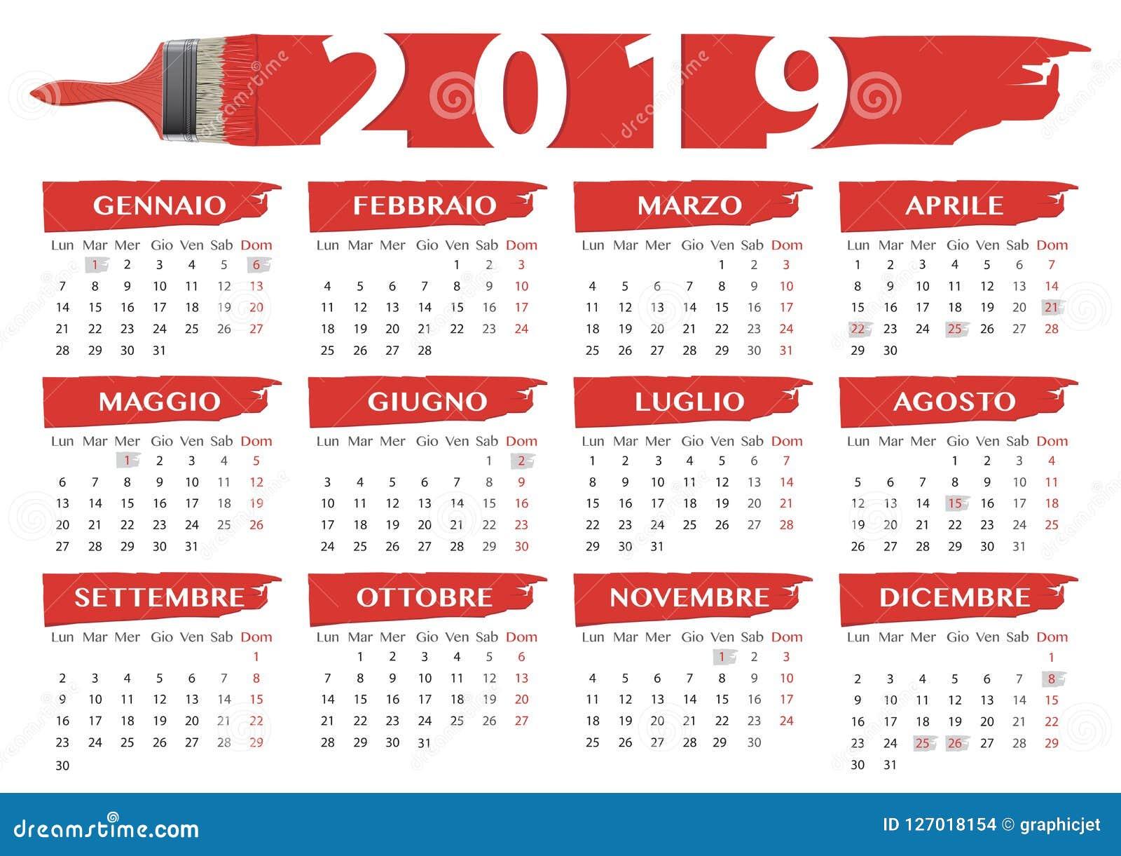 Calendario Con Festivita.Festivita Rossa Dell Italiano Del Calendario Di 2019