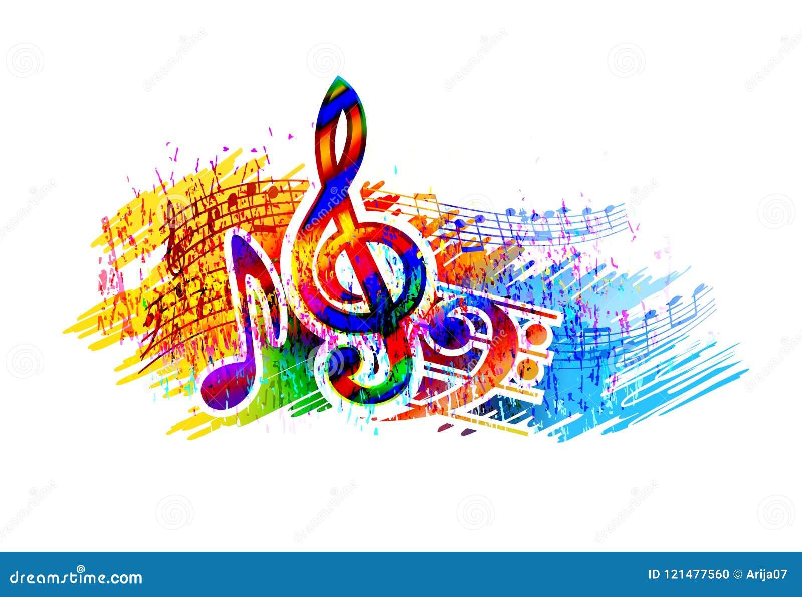 Festiwalu muzyki tło dla przyjęcia, koncerta, jazzu, rockowego festiwalu projekta z muzycznymi notatkami, treble clef i basowego