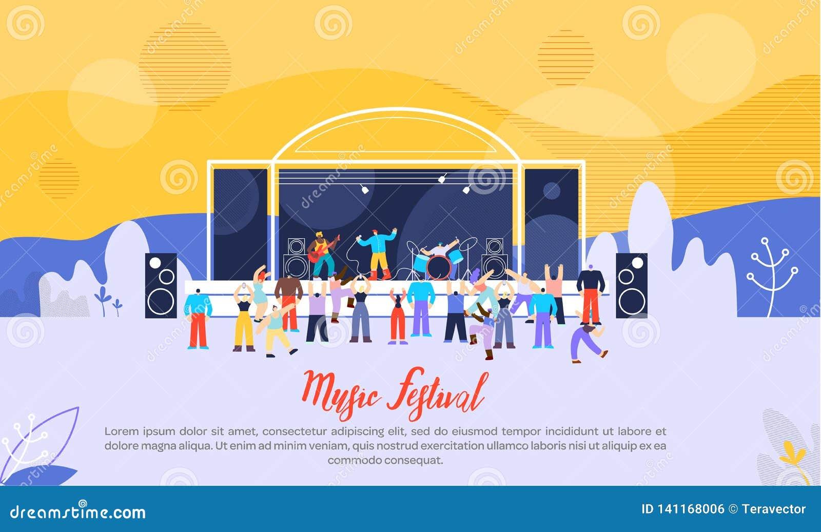 Festiwalu Muzykiego Płaski Wektorowy Reklamowy sztandar