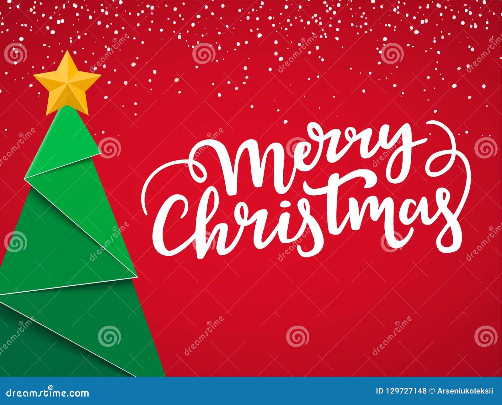 Festliche typografische Weihnachtspostkarte Weihnachtskartenentwurf mit neuem nahem Baum, Goldstern, Beschriftung und Schnee auf