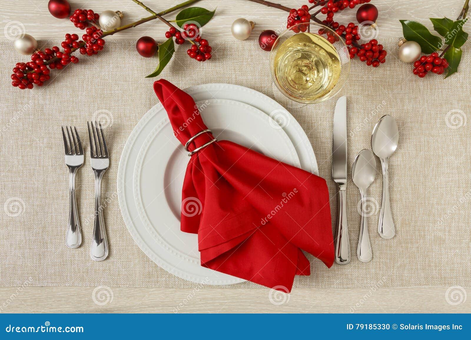 Festliche Weihnachtsfeiertagsgedeckgedeck-Abendessengleichheit