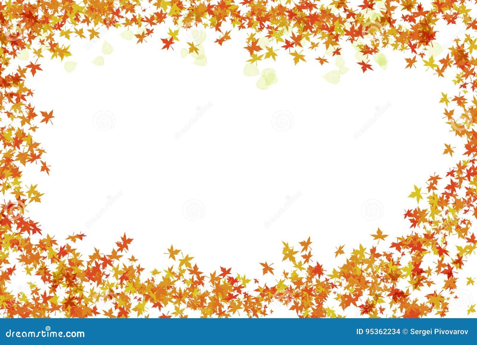 Festlicher Heller Rahmen Des Herbstlaubs Und Des Transparenten ...