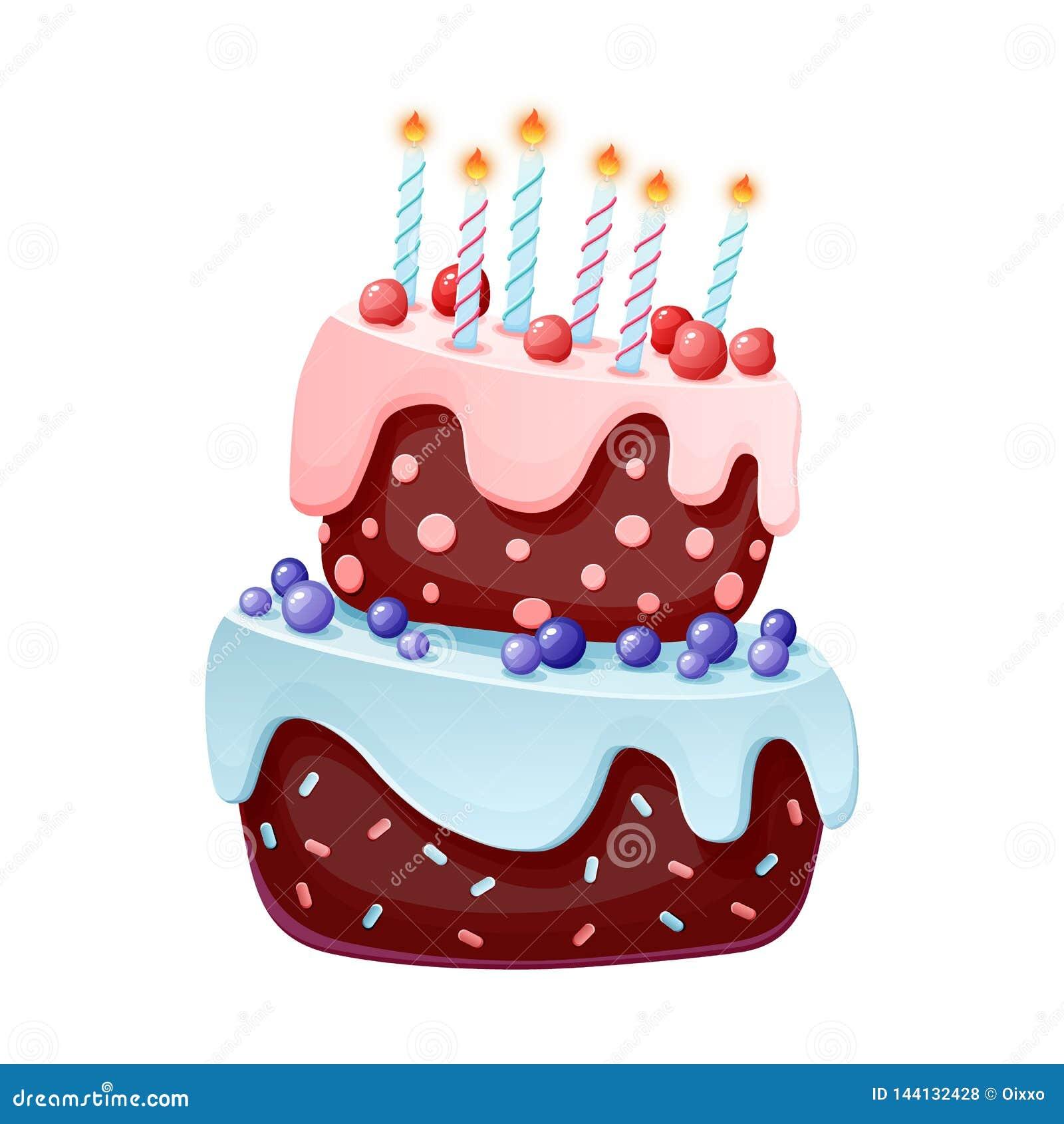 Festlicher Kuchen der netten Karikatur mit Kerzen Schokoladenkeks mit Kirschen und Blaubeeren f?r Parteien Geburtstage Lokalisier