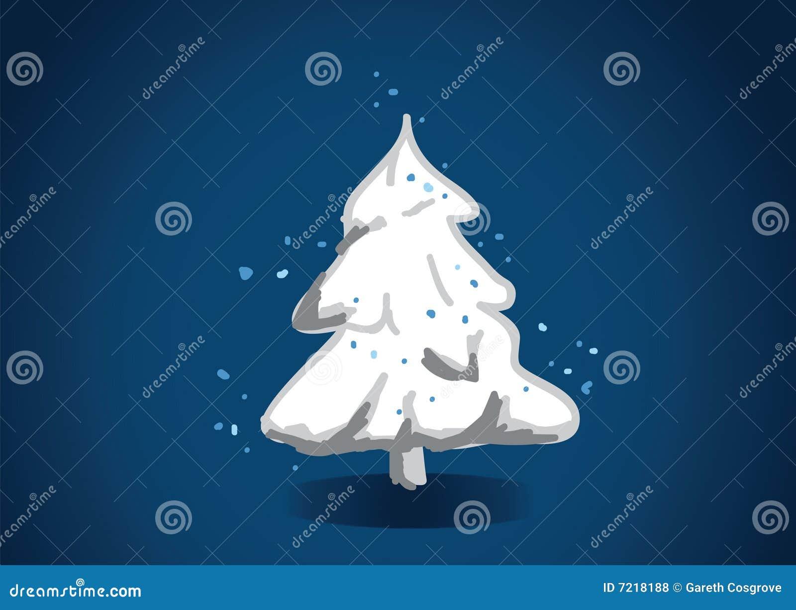 Festlicher schneebedeckter Baum