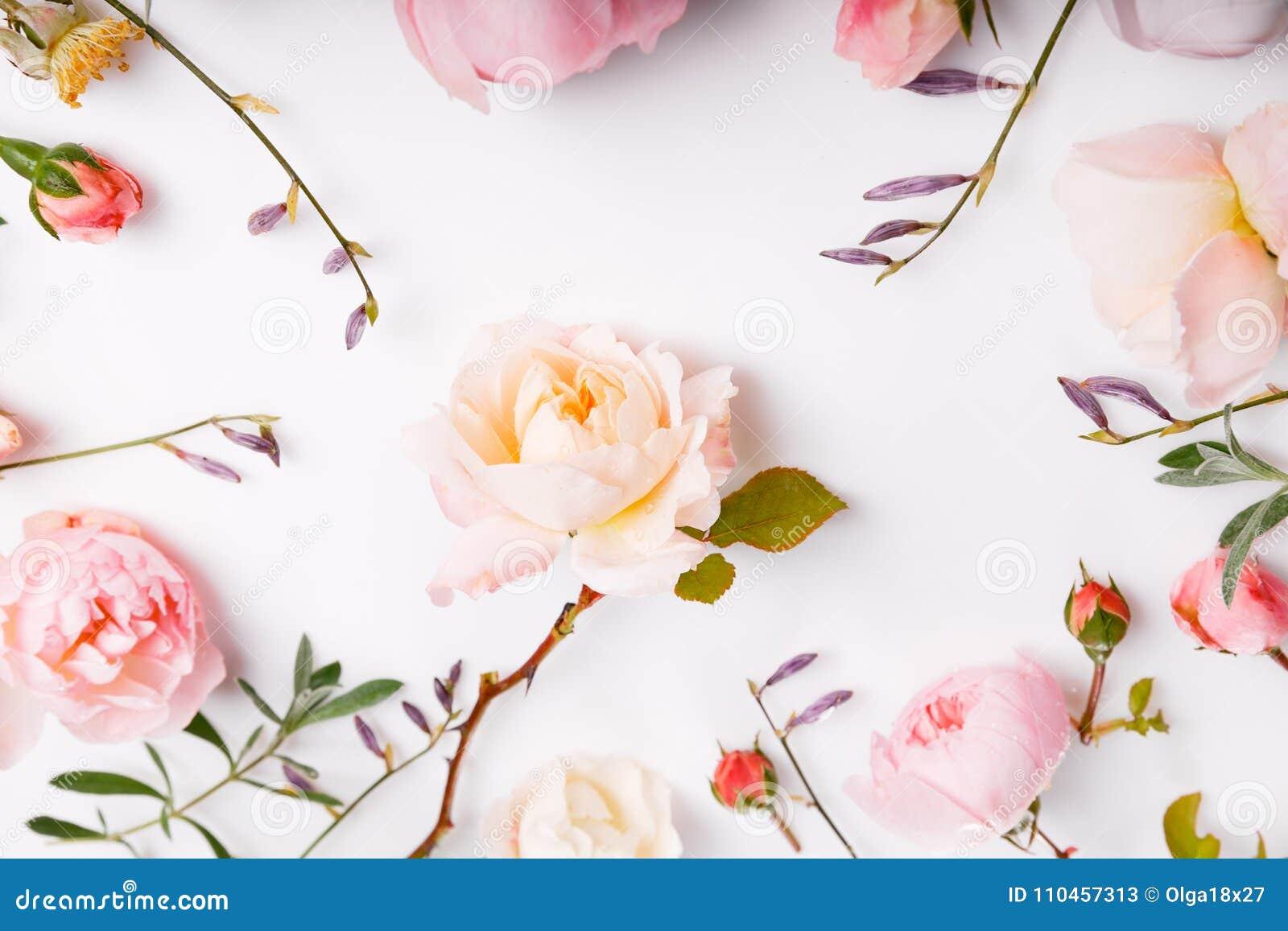 Festlig blommasammansättning på den vita träbakgrunden Över huvudet sikt