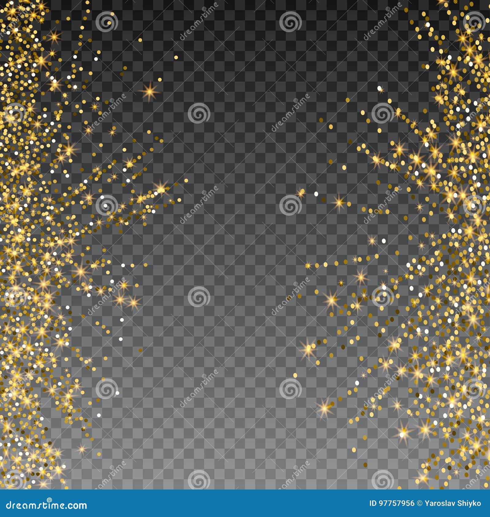 Festlig explosion av konfettier Guld blänker bakgrund för kortet, inbjudan Dekorativ beståndsdel för ferie