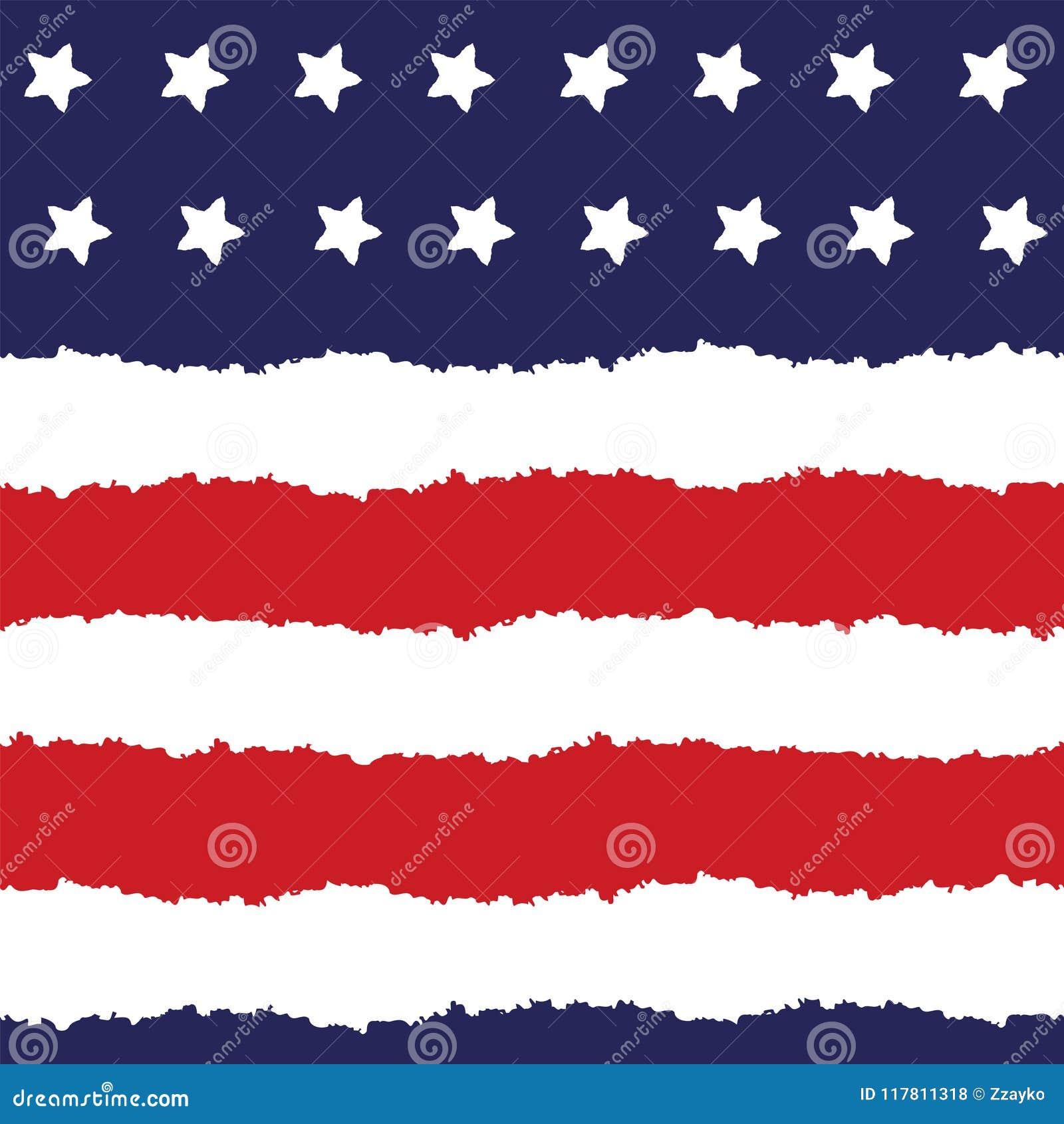Festlig sömlös bakgrund i för USA för nationella färger blått röda vit Remsor och stjärnor, stor idé för fyrverkerier för att dek
