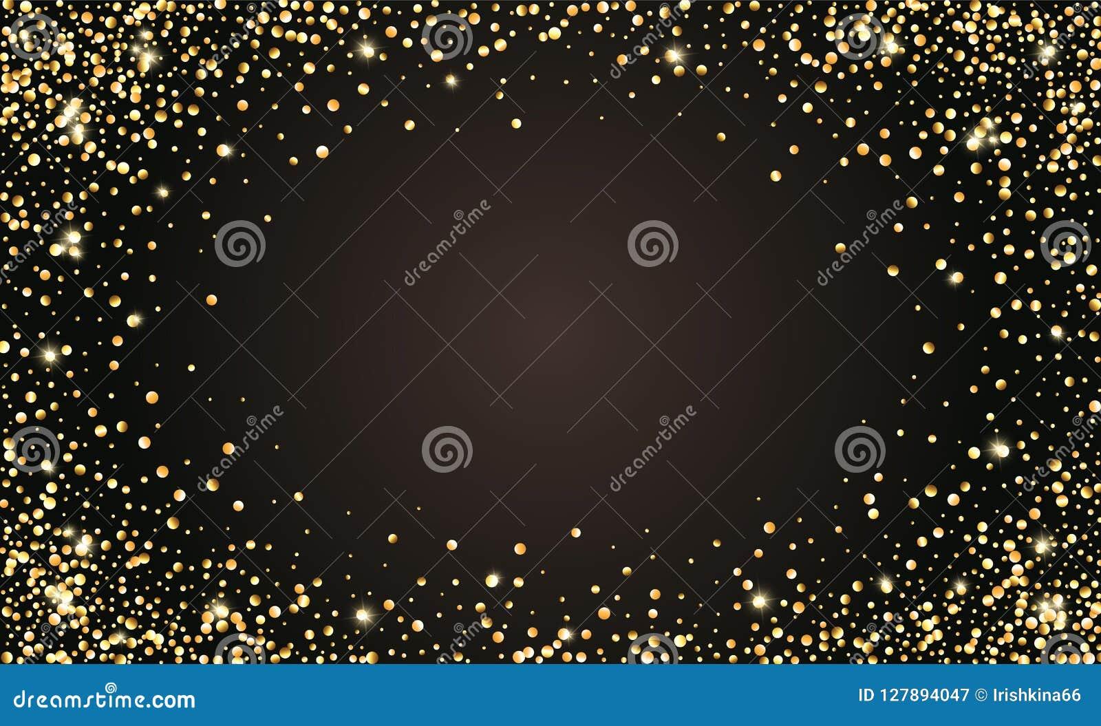 Festlig svart bakgrund för vektor, guld- blänka konfettiram för inbjudningar, årsdag, berömfödelsedag