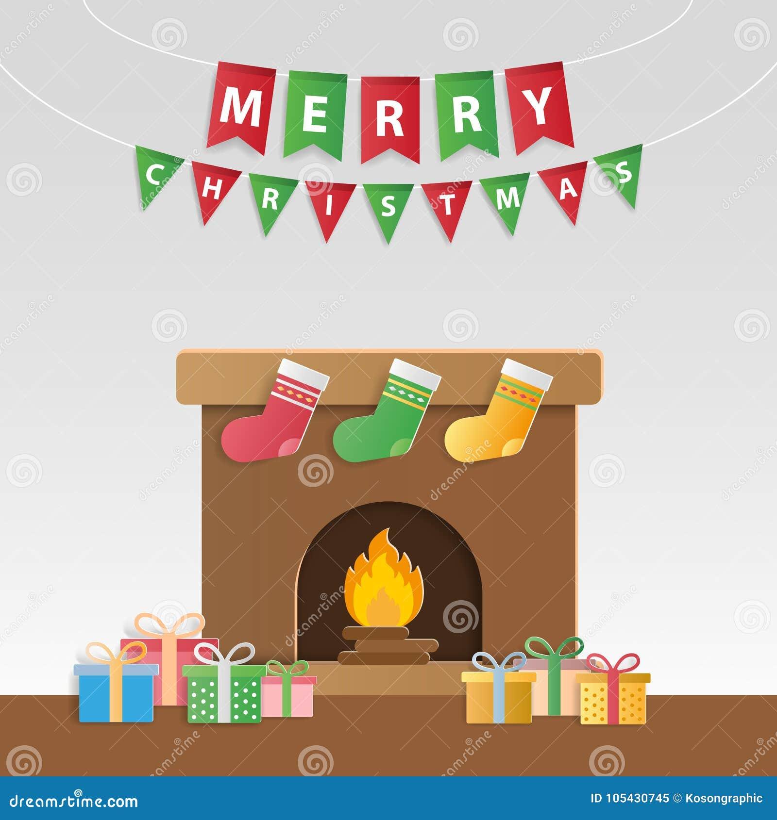Festliga julgåvor och dekorerad spis för gre för säsong` s