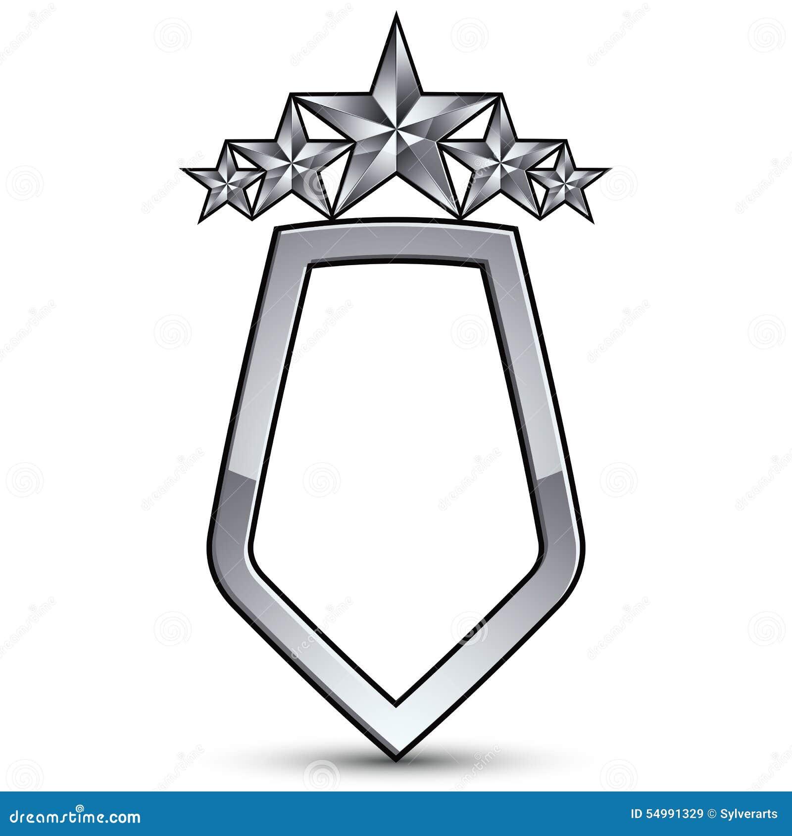Festligt vektoremblem med silveröversikten och femhörnig st fem