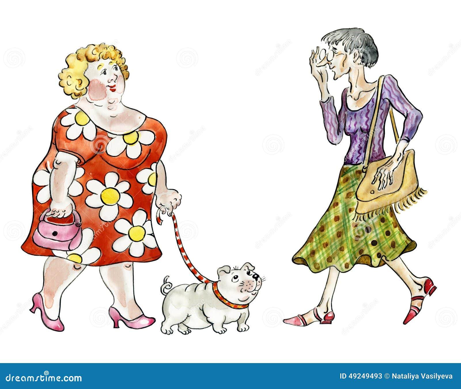 Fet kvinna som går den feta hunden