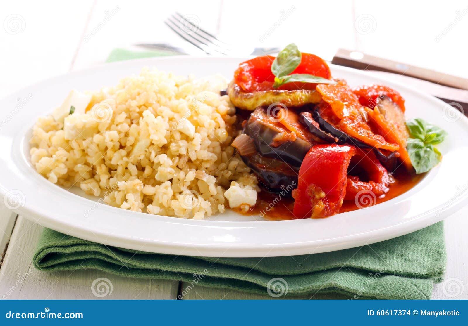 feta bulgur and ratatouille stock photo - image of aubergine
