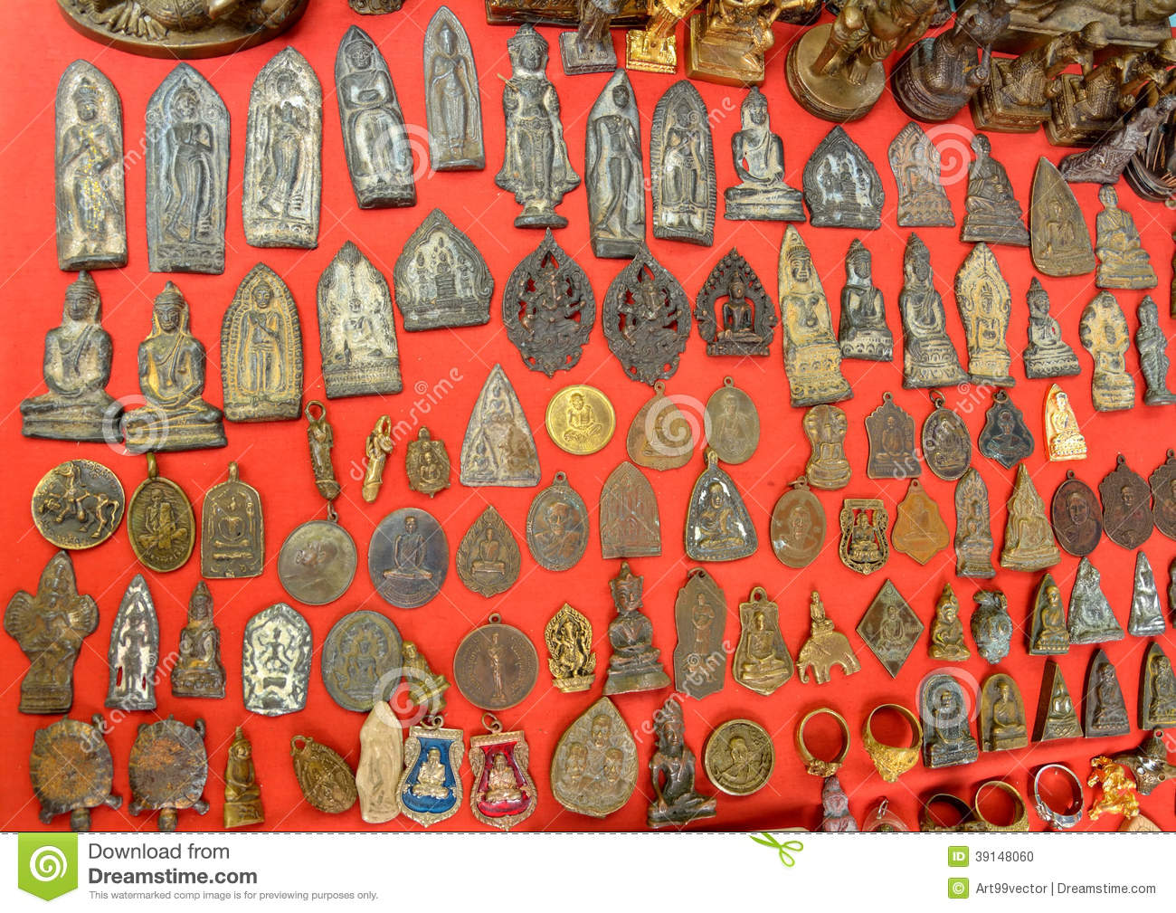 Fetishes Thailand Amulets Popular Buddhist The Faith To Secure A Fortune By Trade And Hang Neck The Red Background