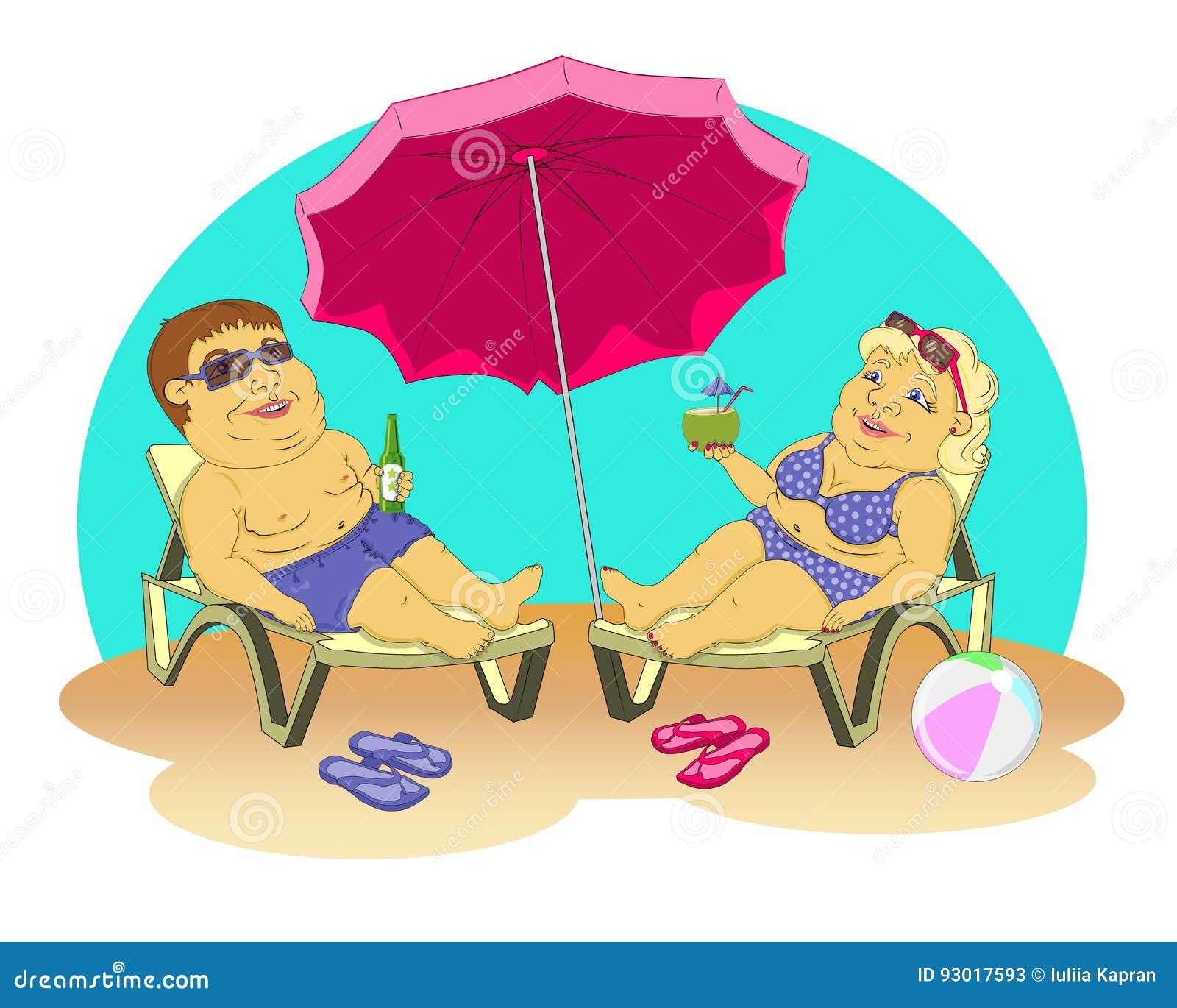 Fett folk på stranden