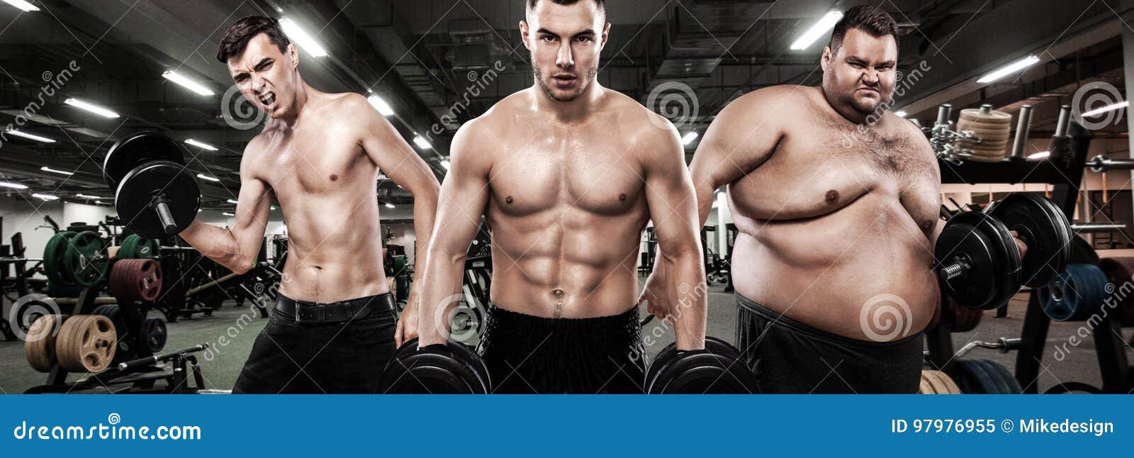 Fett, passform och idrotts- män Ectomorph, mesomorph och endomorph begrepp isolerad sportwhite Före och efter resultat Grupp av t