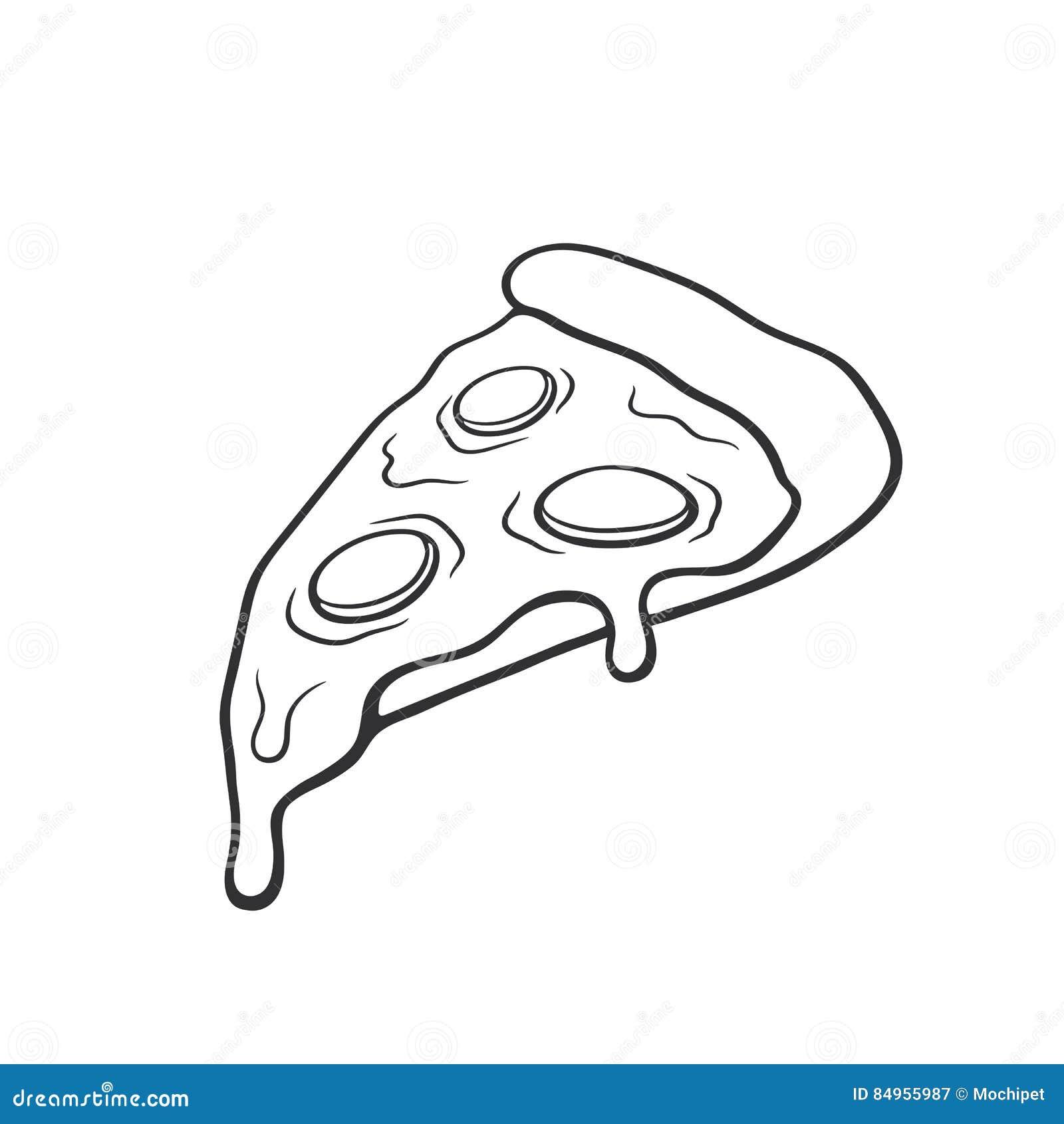 Fetta della pizza di scarabocchio