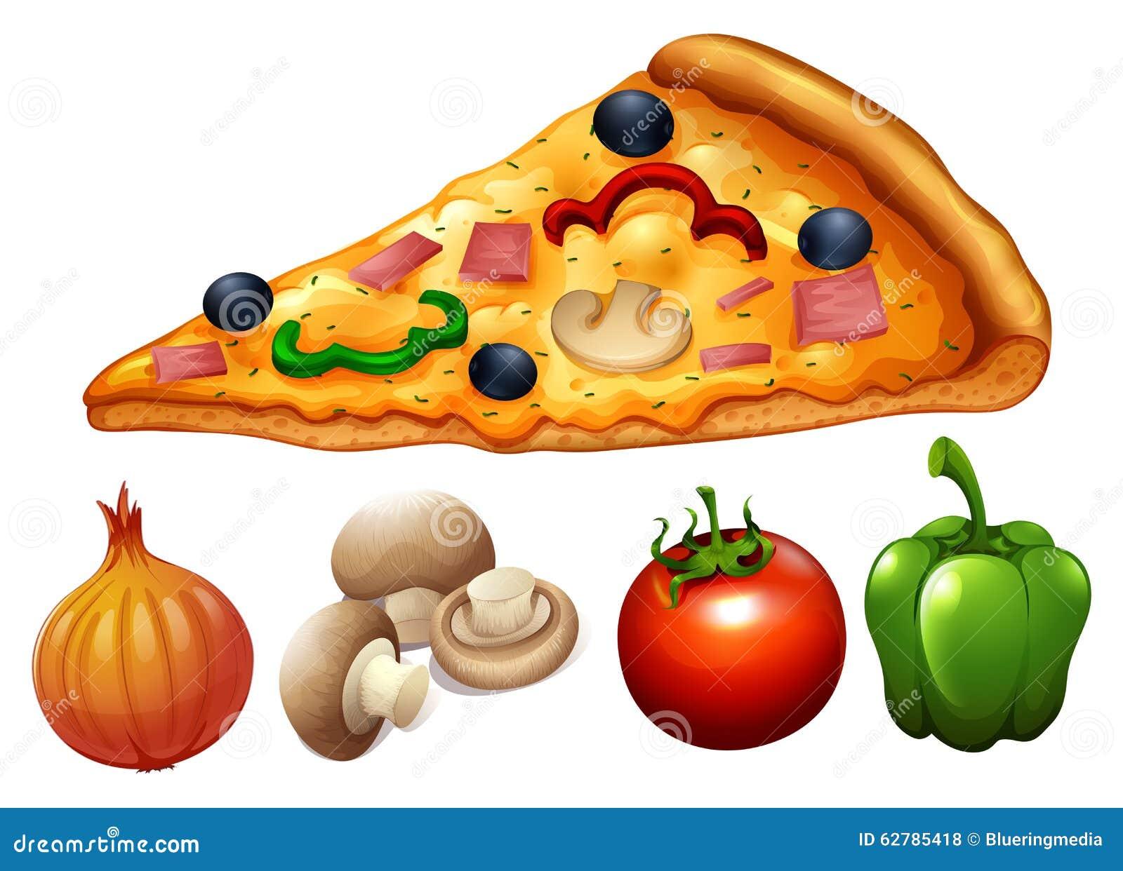 Fetta di pizza e di ingredienti