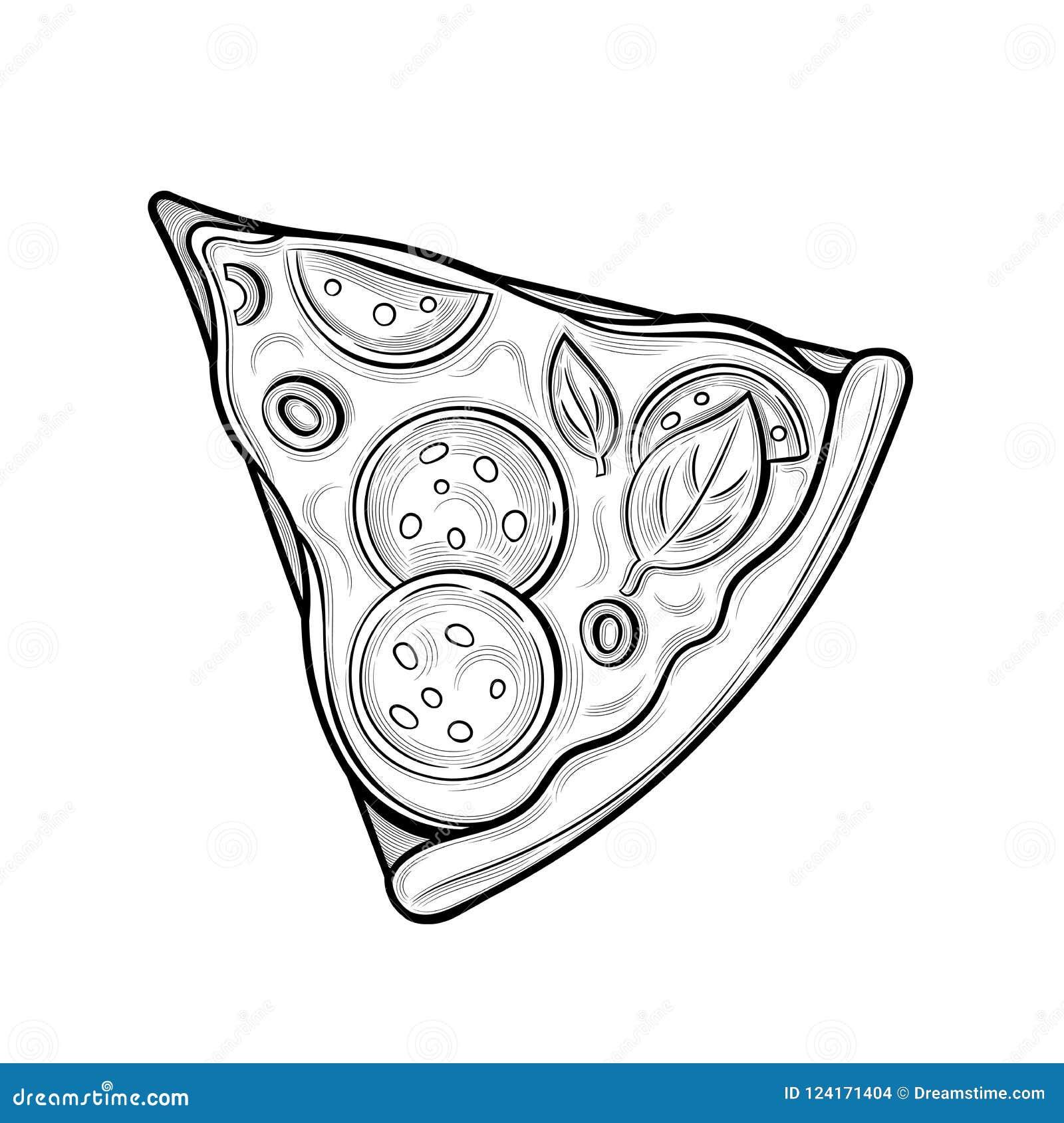 Fetta di pizza Salsiccia, olive, formaggio Illustrazione Immagini isolate su fondo bianco