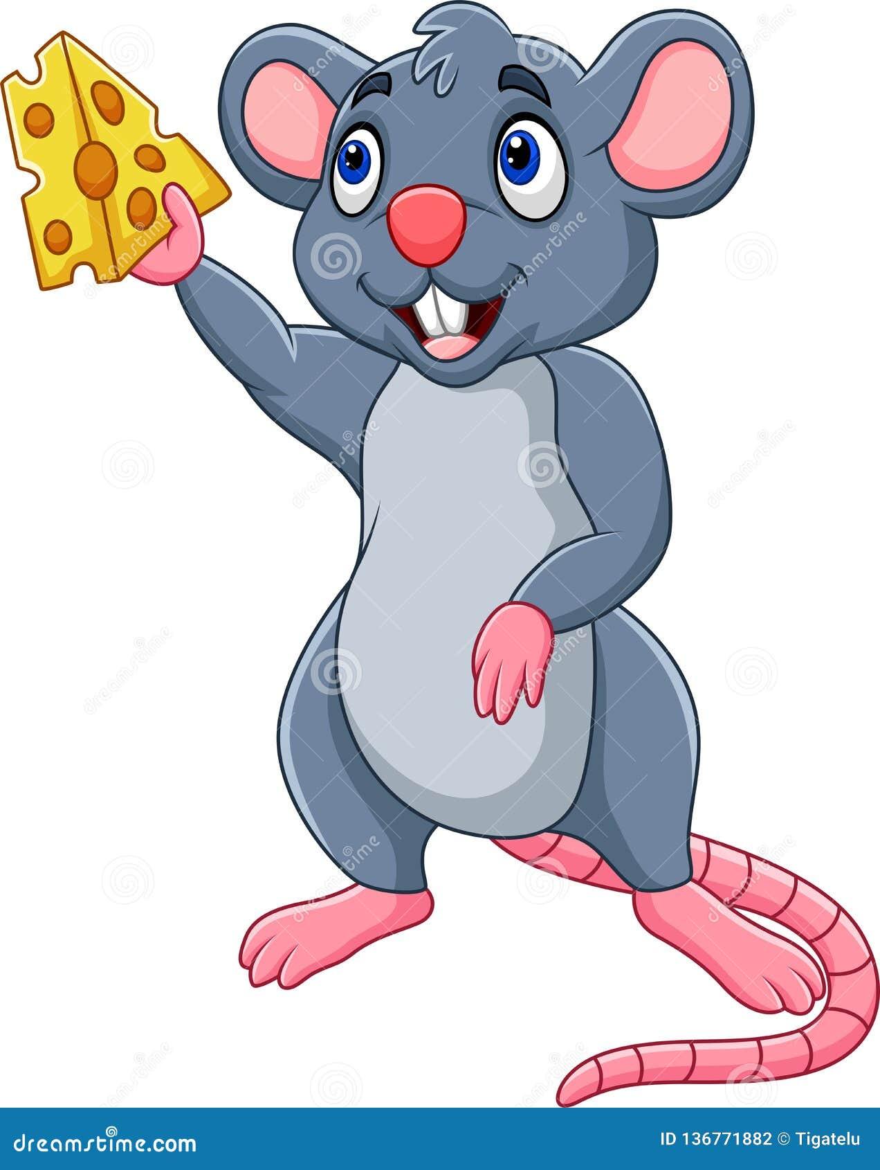 Fetta di rappresentazione del topo del fumetto di formaggio