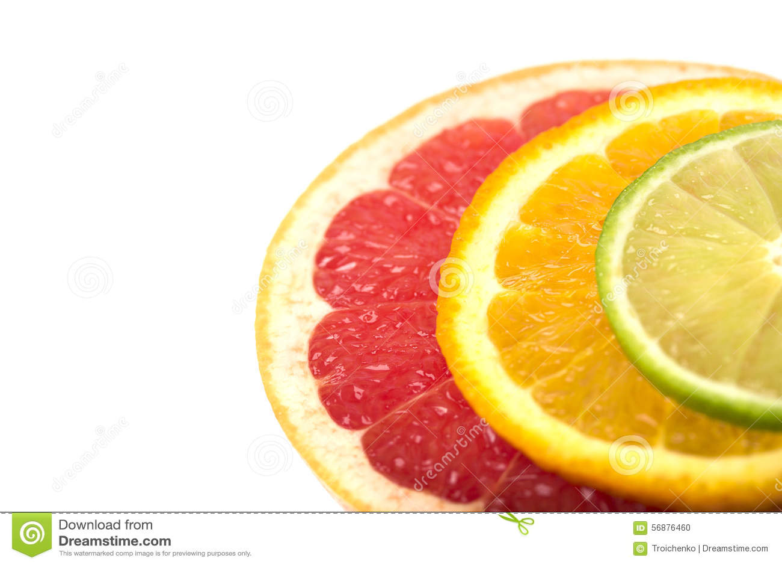 Fette, arancia e pompelmo della calce