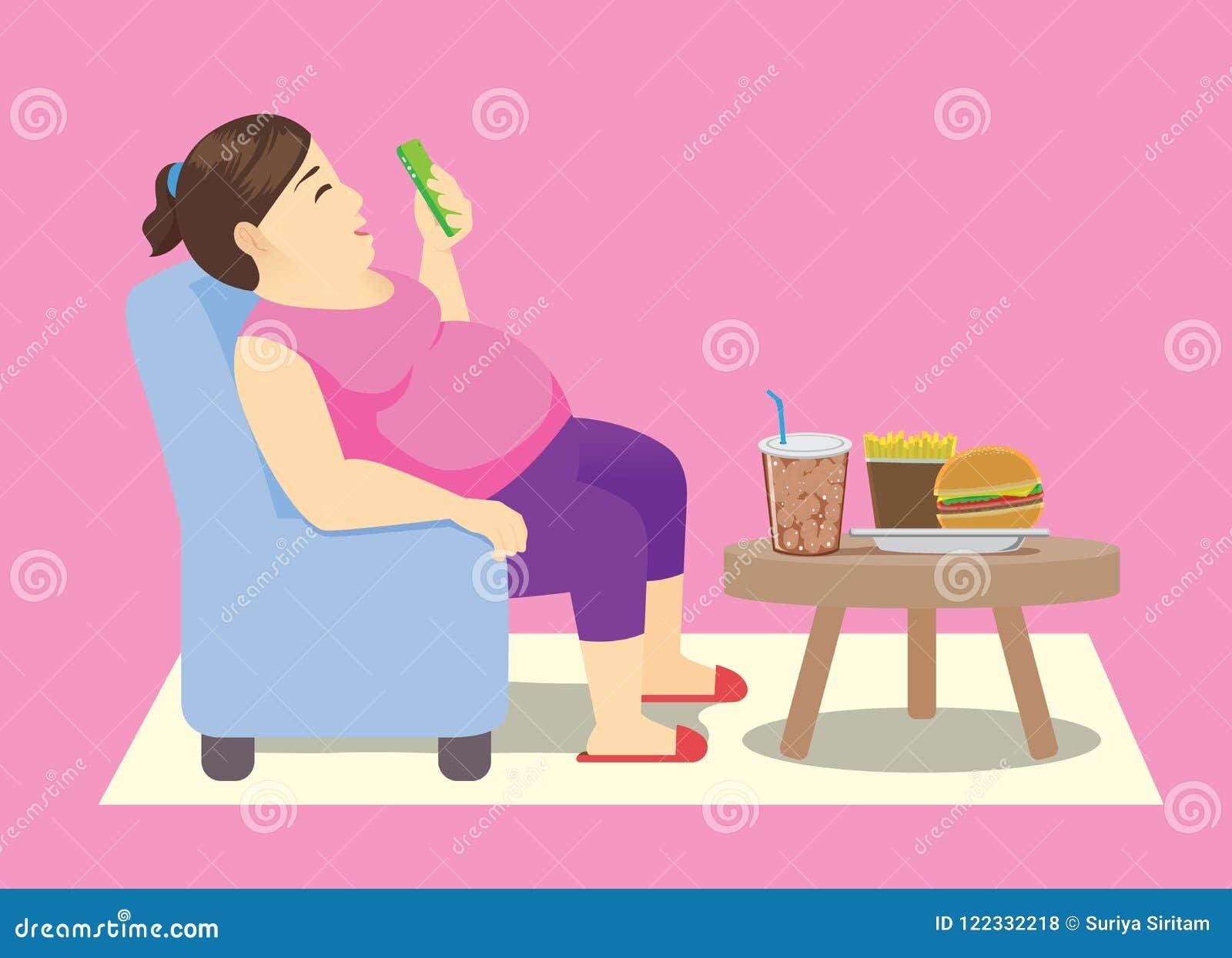 Und FrauDie Smartphone Einem Einem Auf Stuhl Fette 54qLSc3jAR