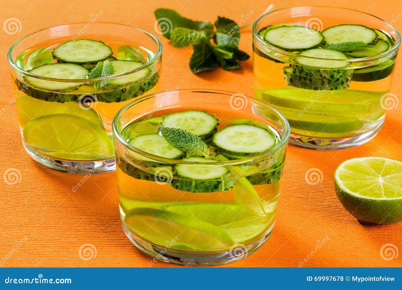 Fettes Brennendes Detox-Getränk - Freches Wasser, Nahaufnahme ...