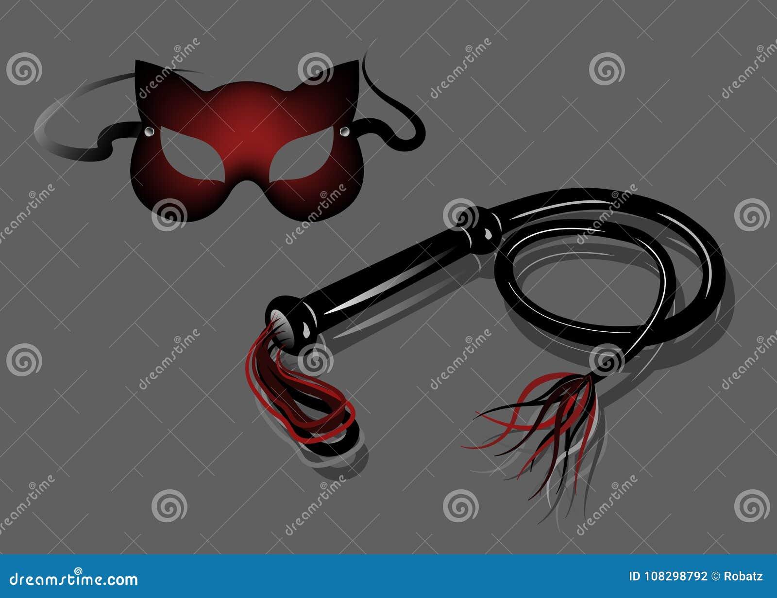 Fetysz i niewolnictwo faszerujemy dla rola bawić się i BDSM: Karnawałowa fetysza kota maska i rzemienny bat,