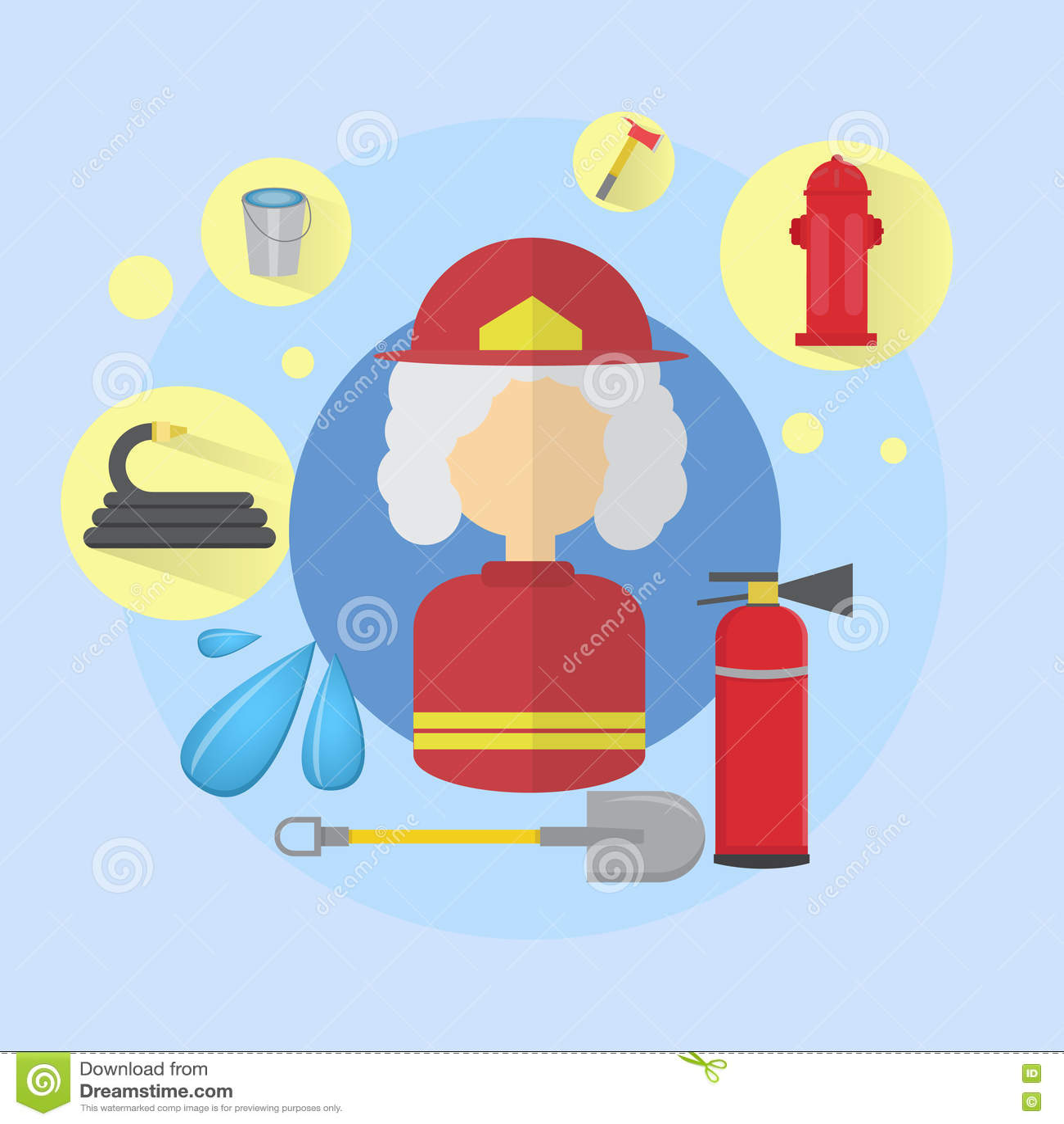Feuer-älterer Frauen-Feuerwehrmann Worker Icon
