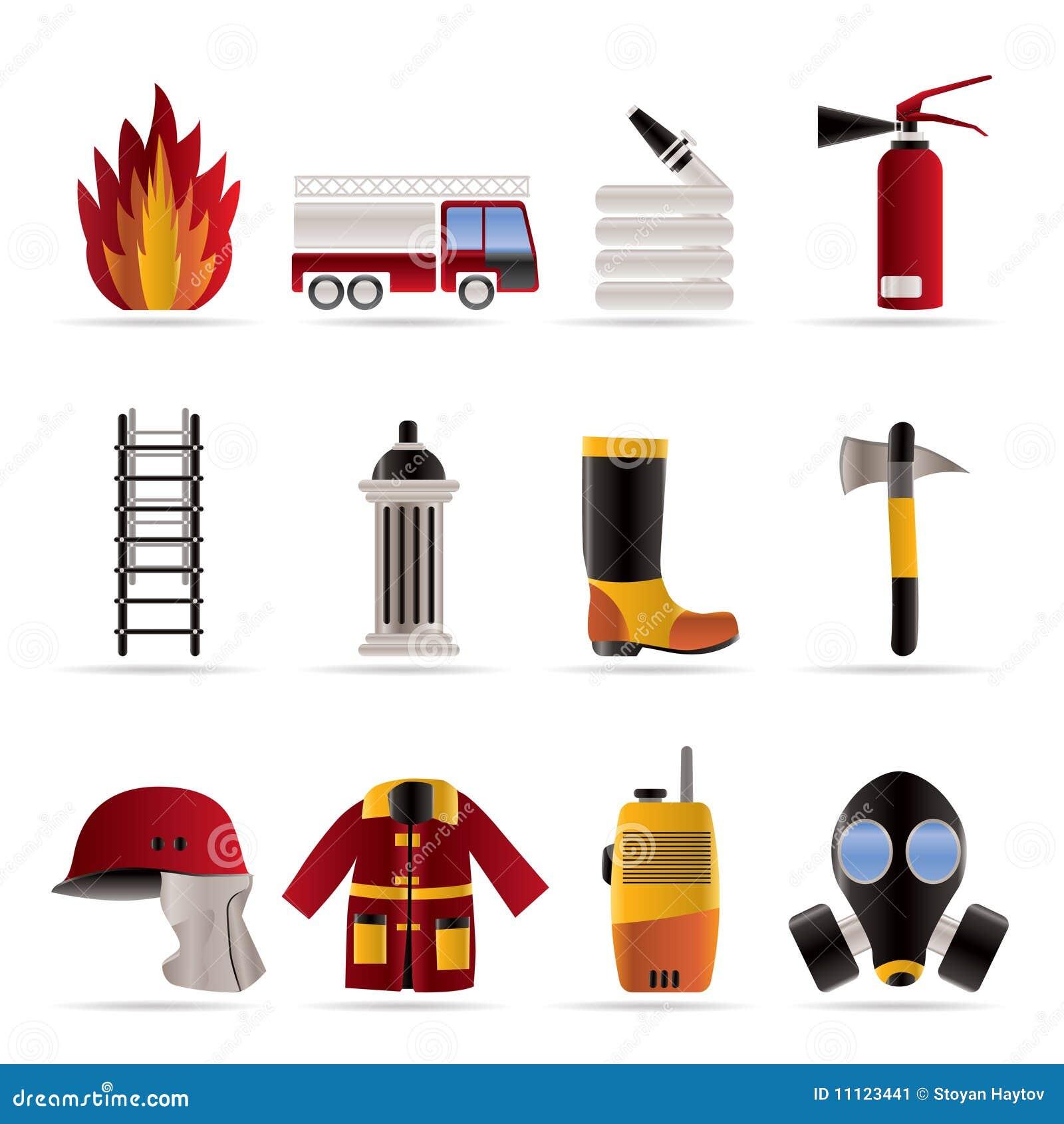 Feuer-Brigade und Feuerwehrmannausrüstungsikone - Vektor I