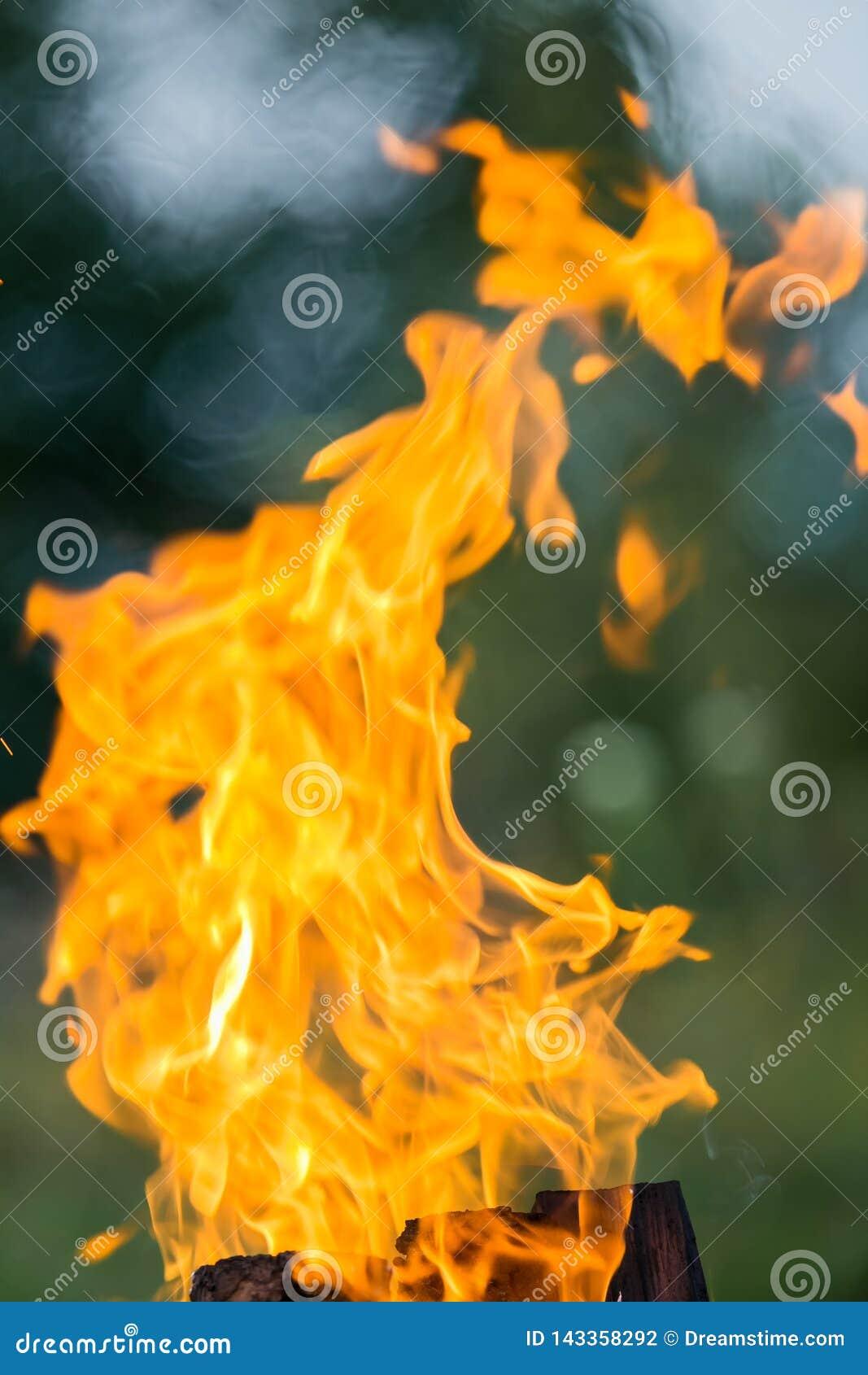 Feuer, das auf der Straße brennt Grillfrankfurter
