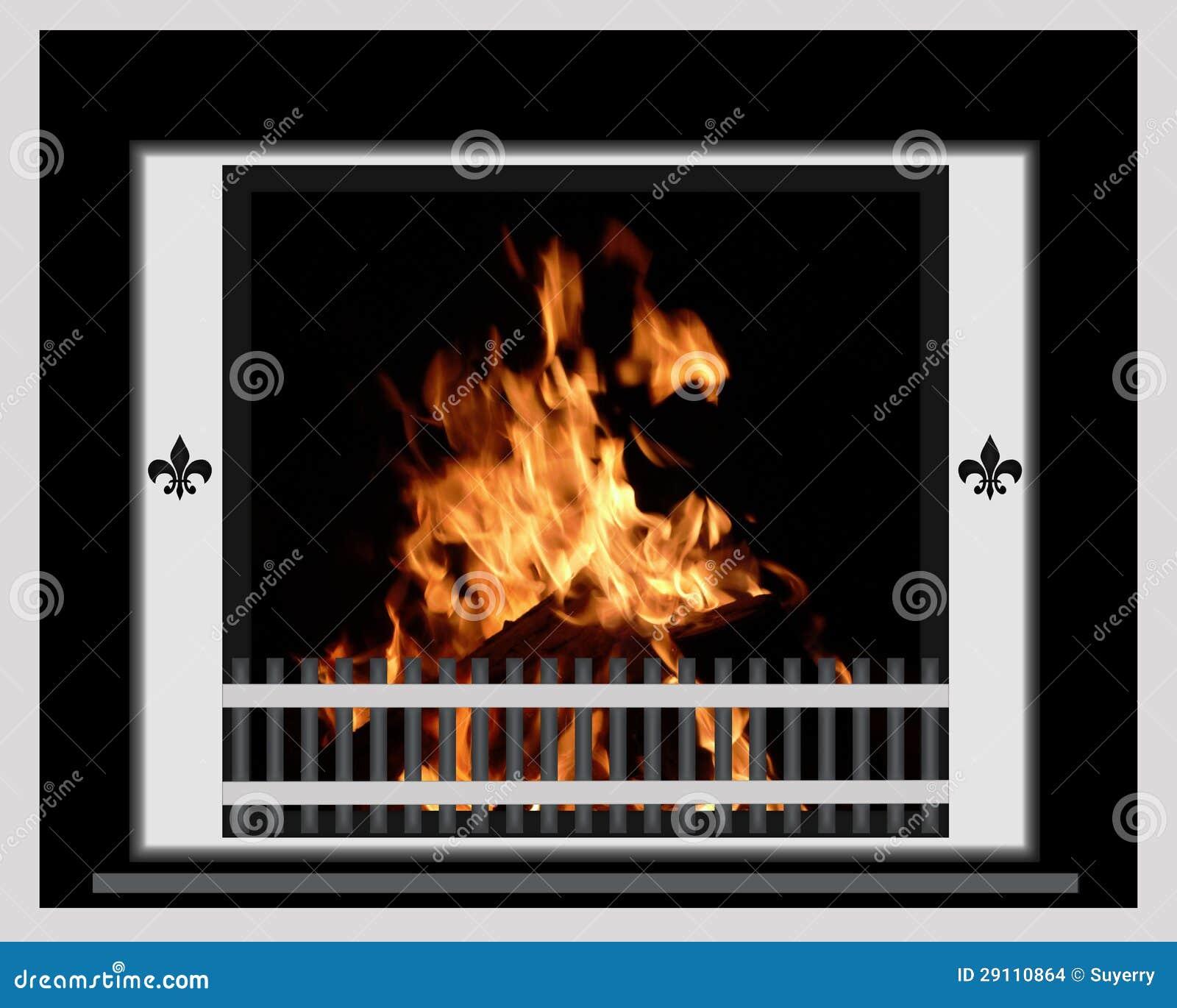 Feuer, das im Chrom-Kamin brennt