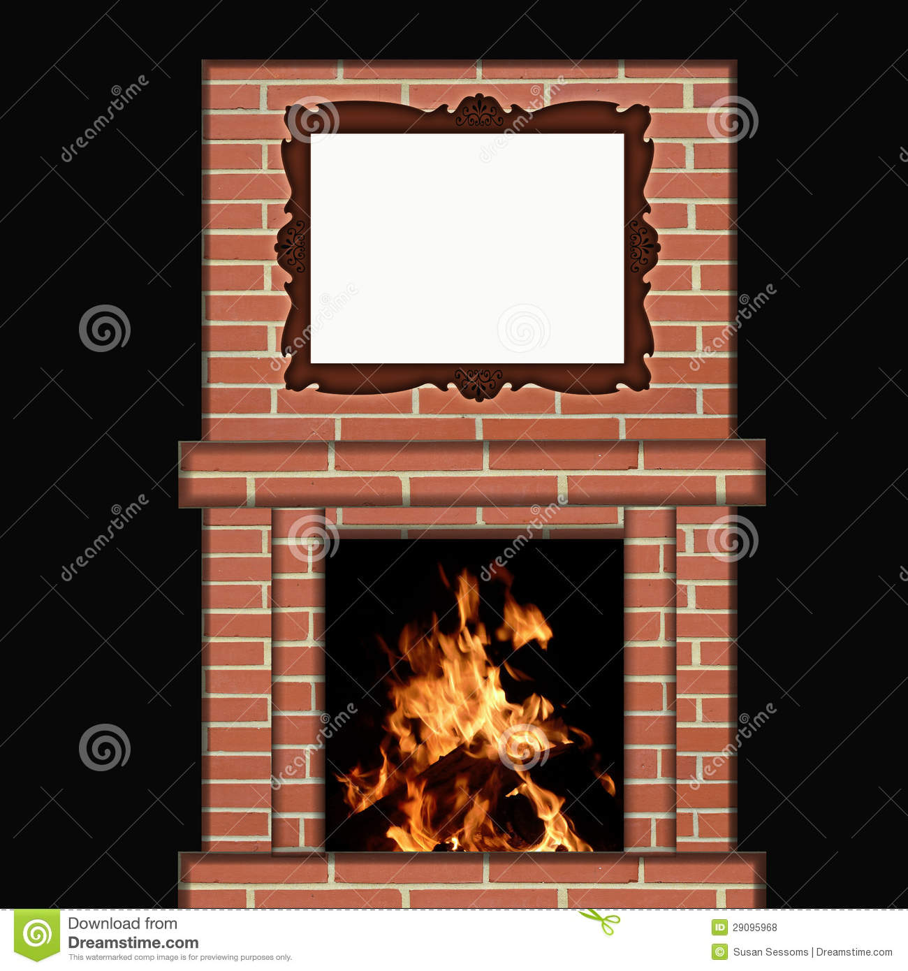 feuer das im kamin mit bilderrahmen brennt stockfoto illustration von bequem kamin 29095968. Black Bedroom Furniture Sets. Home Design Ideas