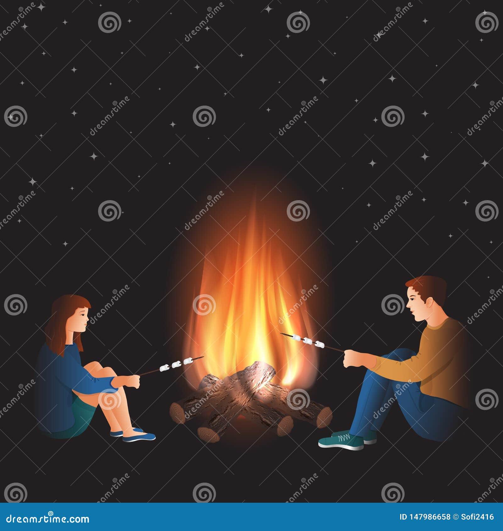 Feuer mit dem Jungen und Mädchen, die Eibisch kochen