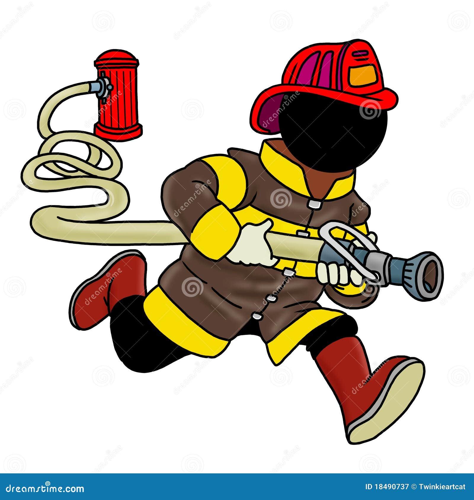 Feuerkämpfer, der einen Schlauch anhält