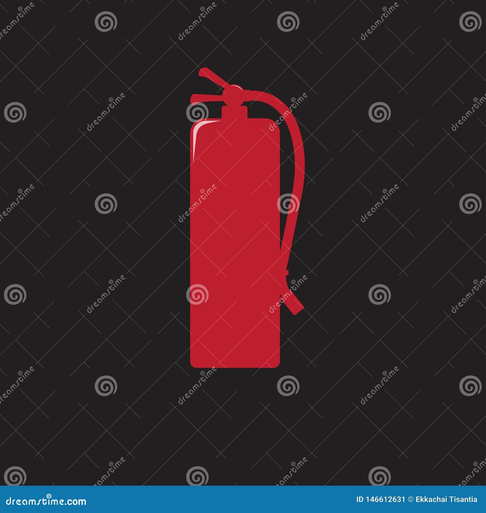 Feuerlöscher unterzeichnet rote Ikonenvektorillustration
