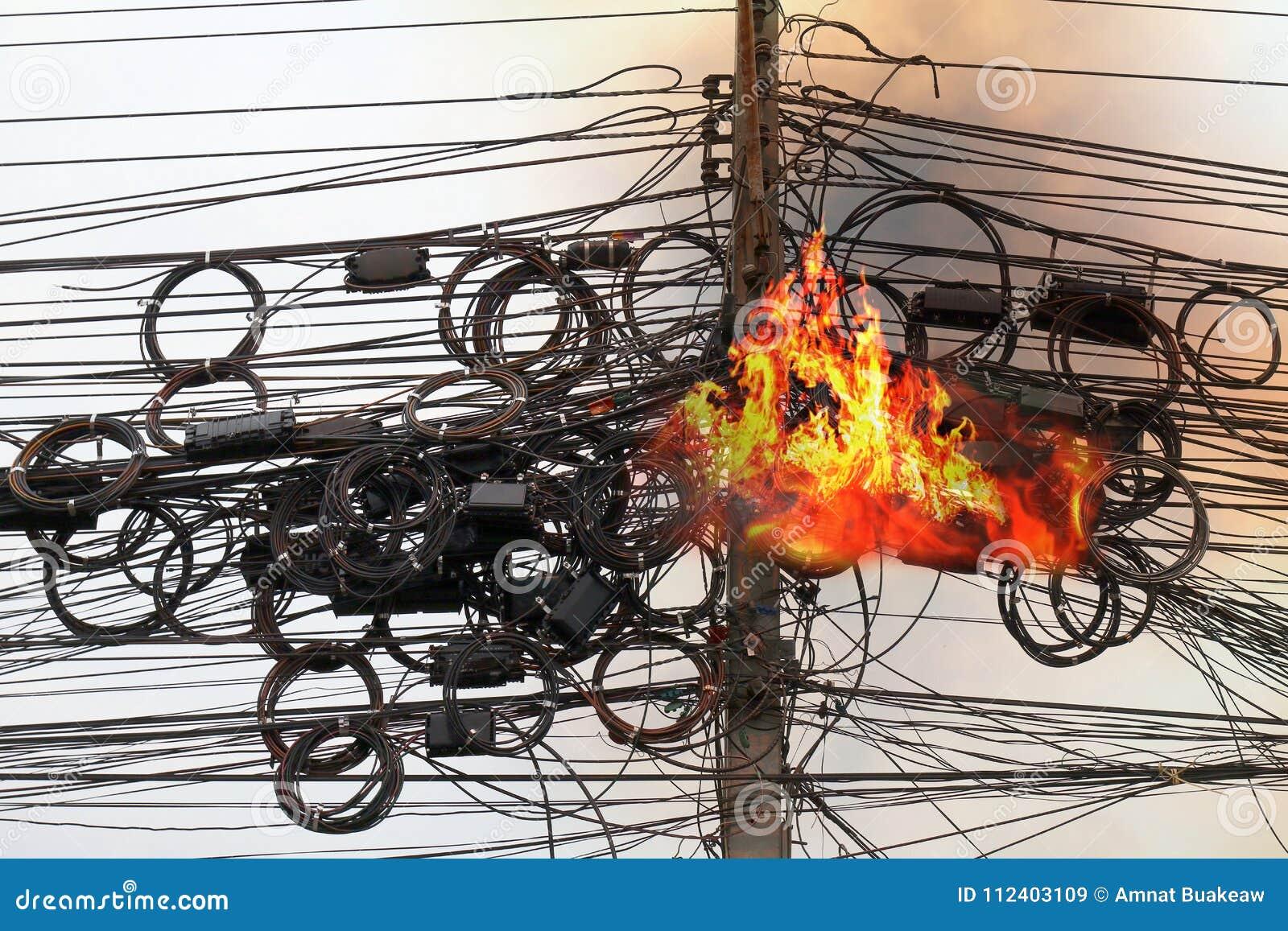 Feuern Sie brennende Hochspannungskabelenergie, elektrische Energie der Gefahrendrahtverwicklungsschnur ab