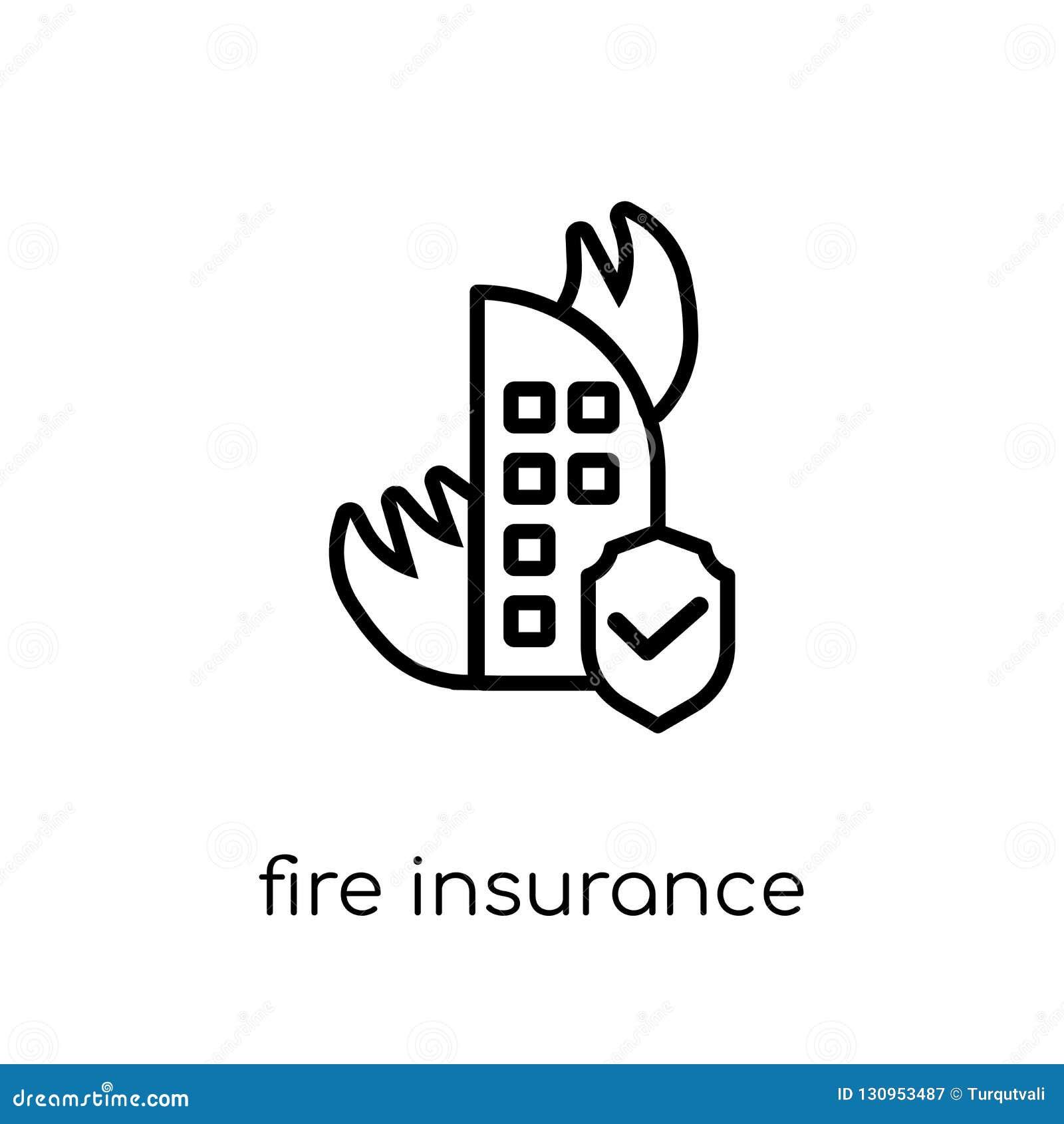 Feuerversicherungs-Ikone Modisches modernes flaches lineares Vektor Feuer insur