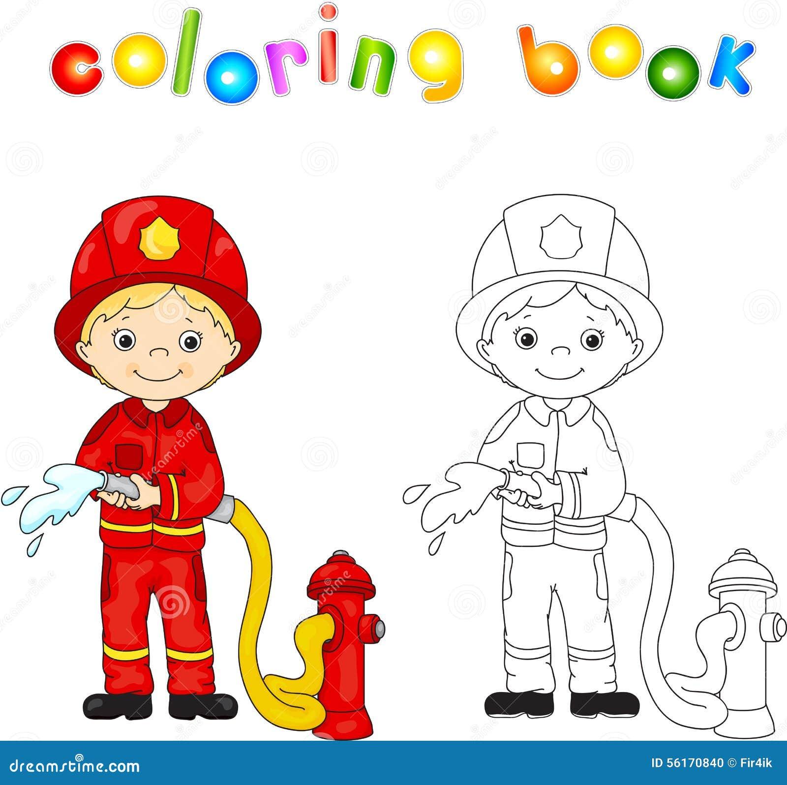 Feuerwehrmann in einer roten Uniform und Sturzhelm mit einem Schlauch in seiner Hand spalte