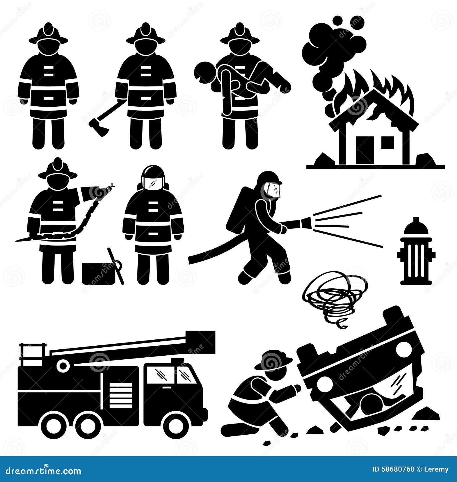 Feuerwehrmann Fireman Rescue Cliparts Vektor Abbildung