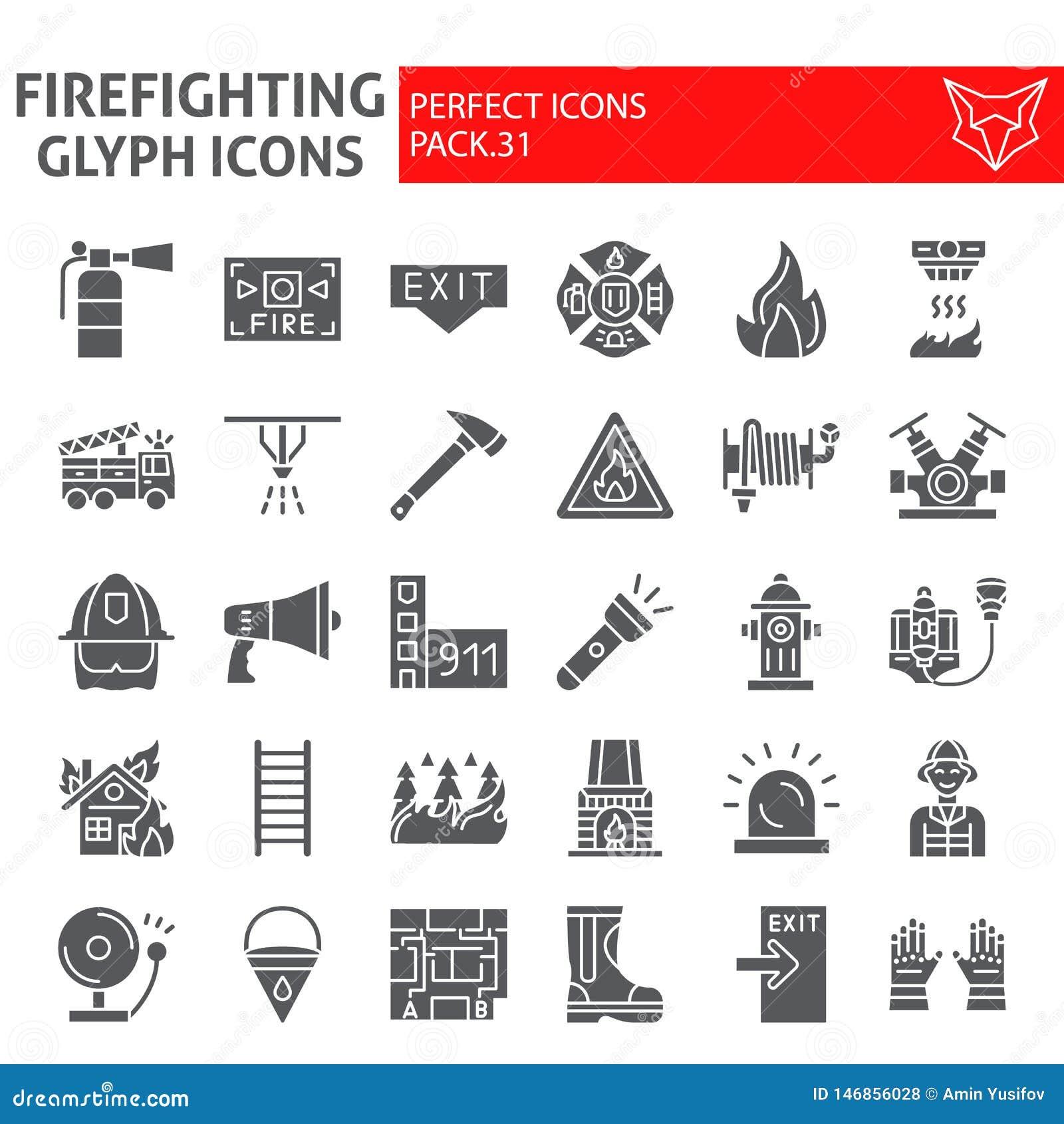 Feuerwehrmann Glyph-Ikonensatz, Feuerwehrmannsymbole Sammlung, Vektorskizzen, Logoillustrationen, Brandschutzzeichen fest