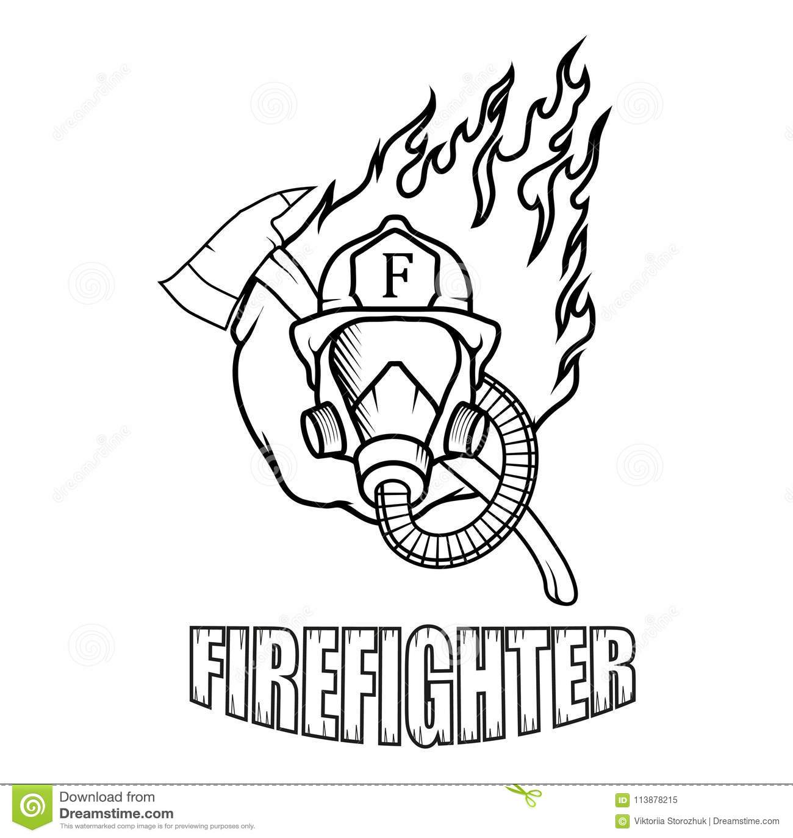 SIONOLY Gesichtsbedeckung Feuerwehrmann Skizze Stil Illustration EIN Feuerwehrmann Die Feuerwehr Sturmhaube Unisex Wiederverwendbare Winddichte Anti-Staub-Mund Bandanas Halsmanschette mit 6 Filtern