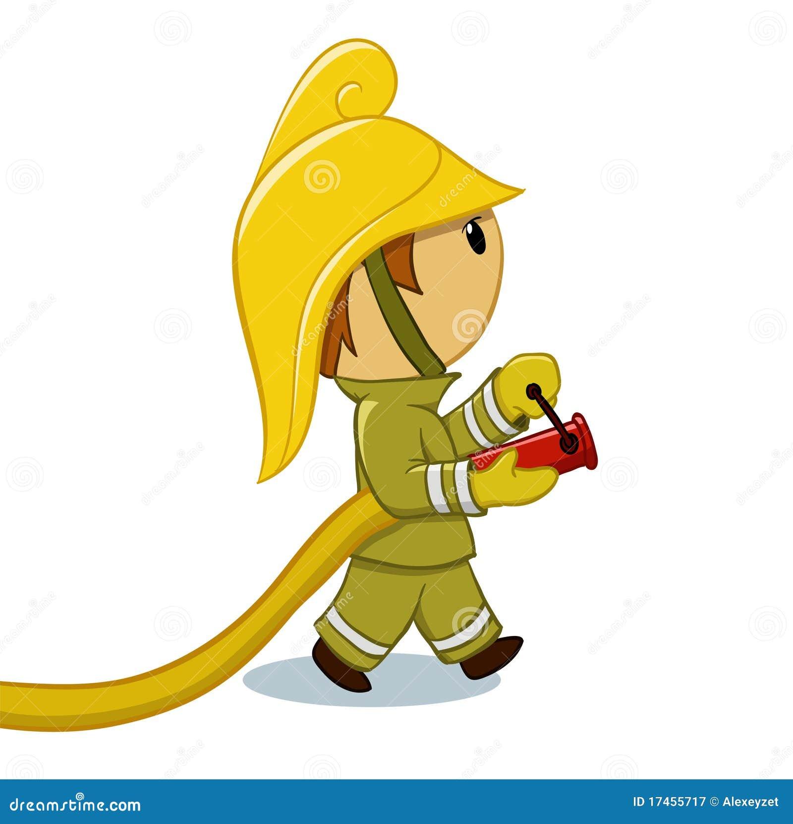 Feuerwehrmann mit Schlauch und lustigem Sturzhelm
