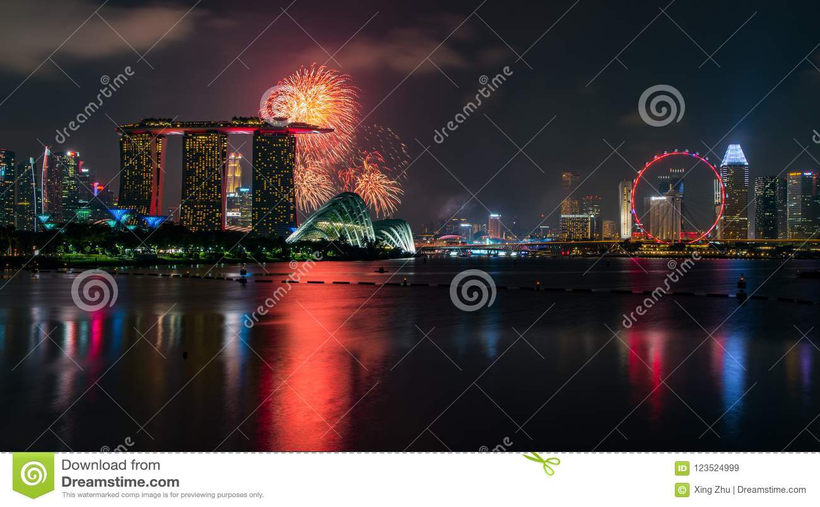 Feuerwerk am Nationaltag, Singapur, eine mordern Stadt